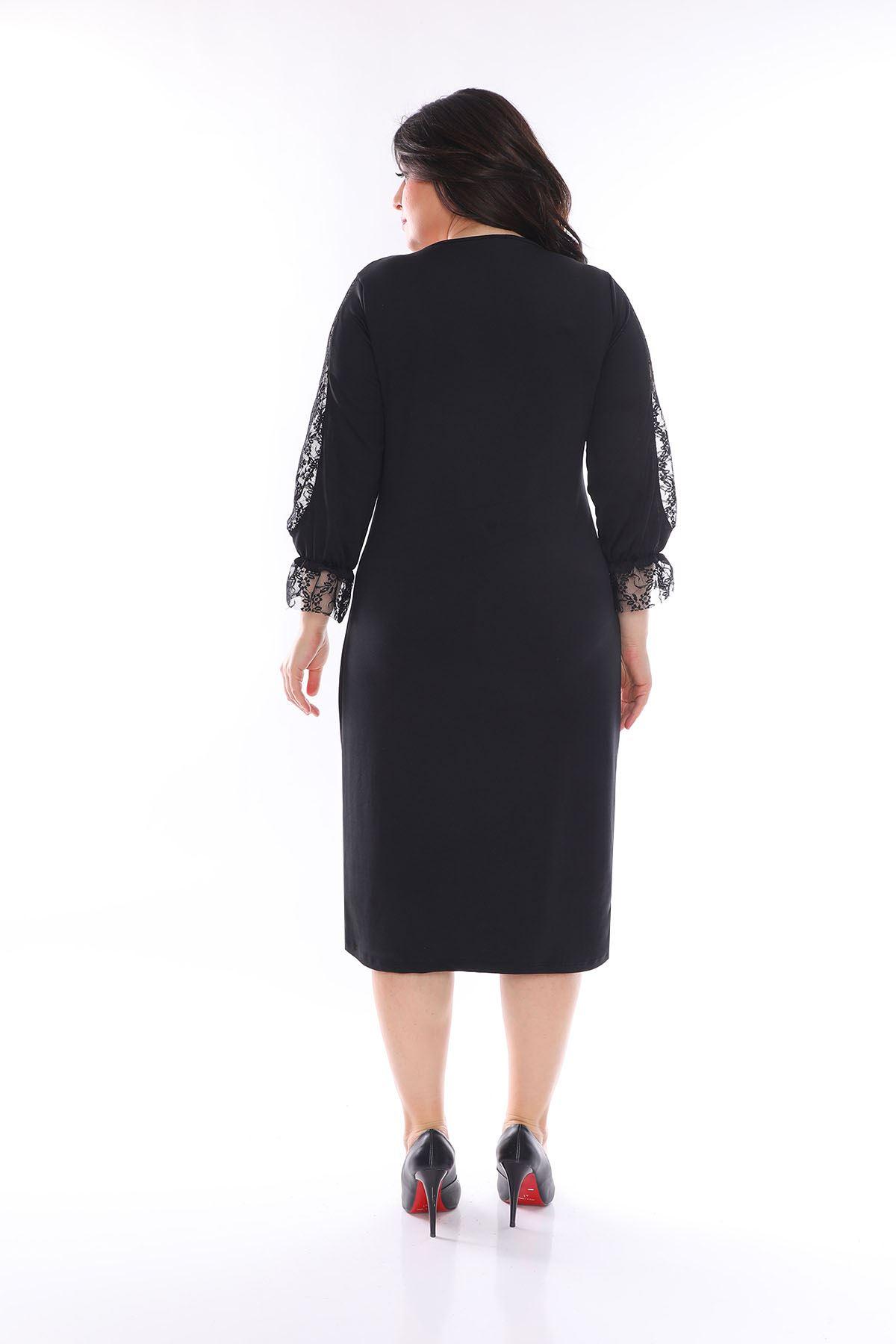 Kol Detaylı Büyük Beden Elbise 22A-1058