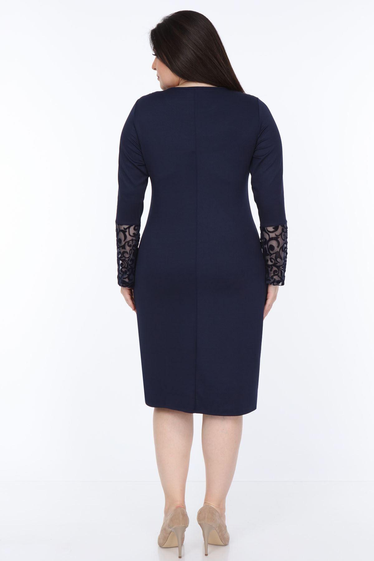 Lacivert İspanyol Kol Büyük Beden Elbise 30Y-1051