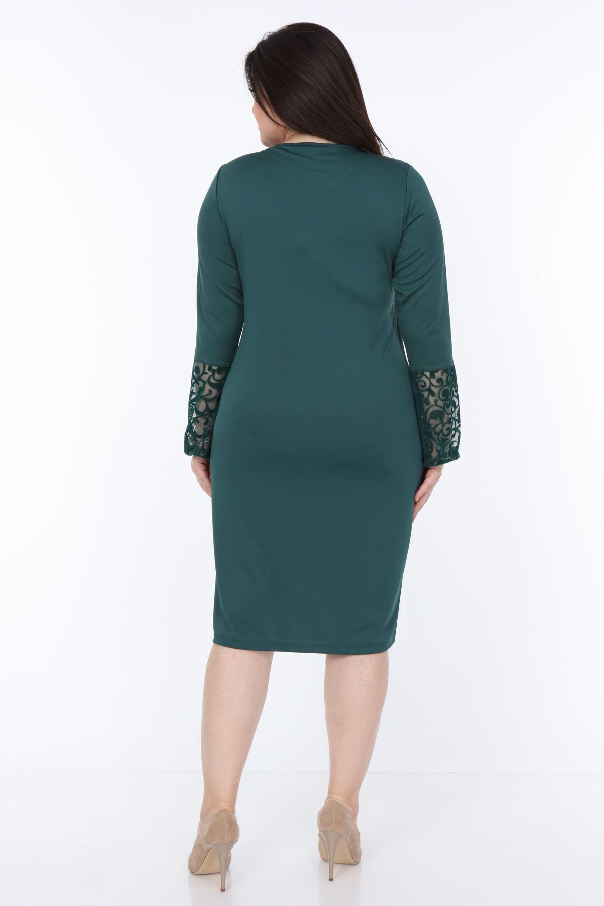 Yeşil İspanyol Kol Büyük Beden Elbise 30Y-1050