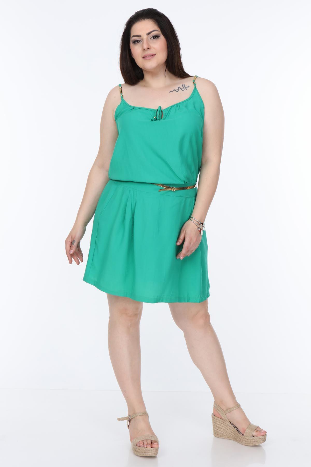 Yeşil Yazlık Büyük Beden Elbise 7A-1060