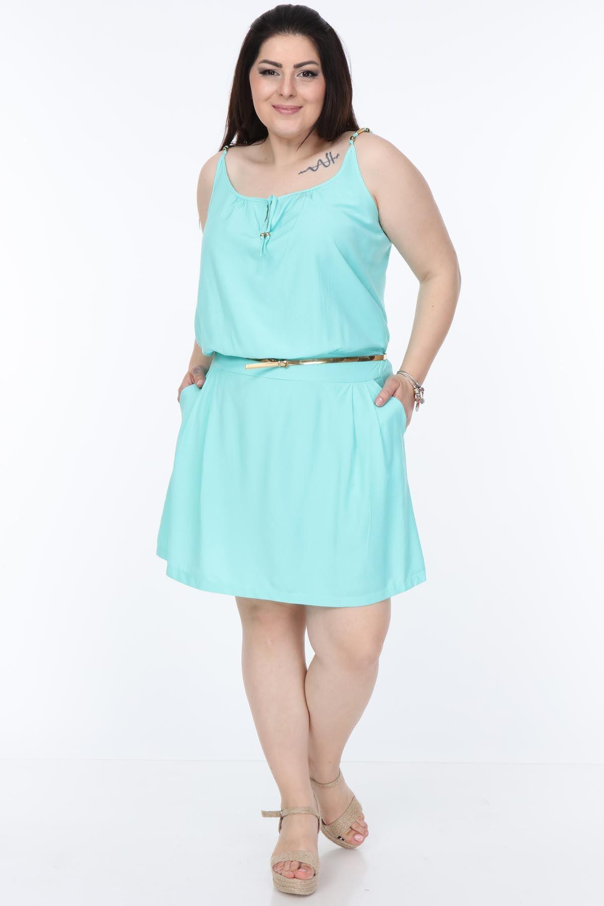 Mint Yazlık Büyük Beden Elbise 1A-1061