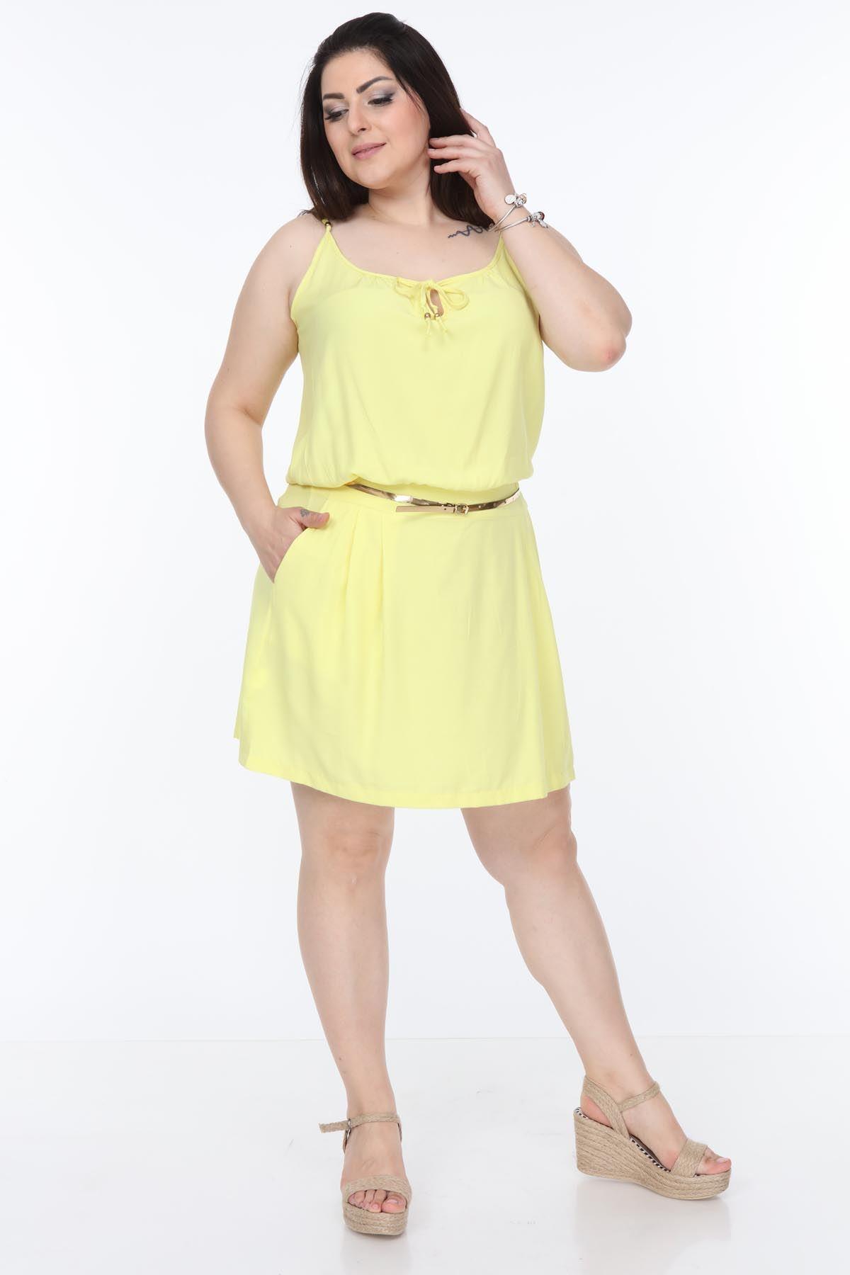 Sarı Yazlık Askılı Büyük Beden Elbise 23D-1062