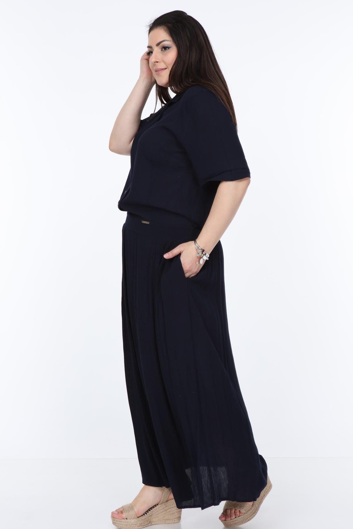 Lacivert Uzun Elbise 22D-1064