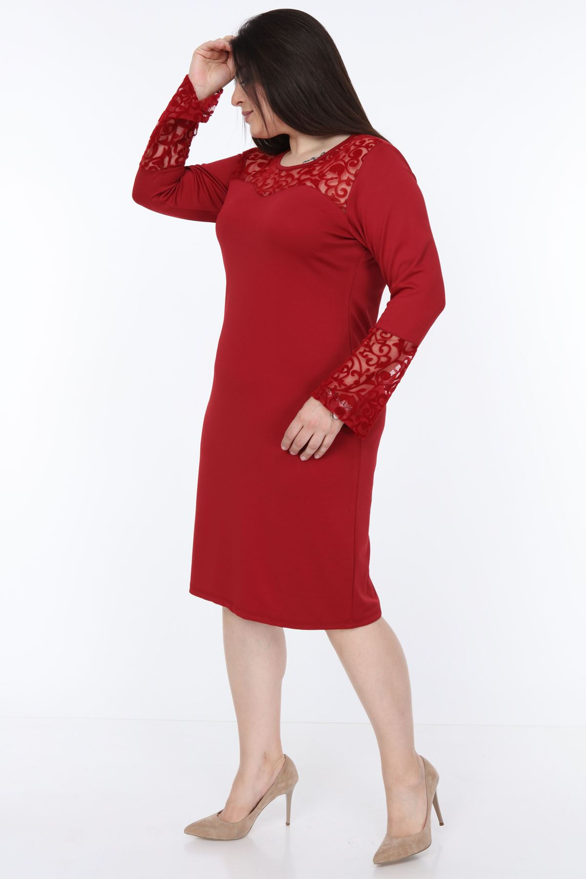 Bordo İspanyol Kol Büyük Beden Elbise 2E-1070