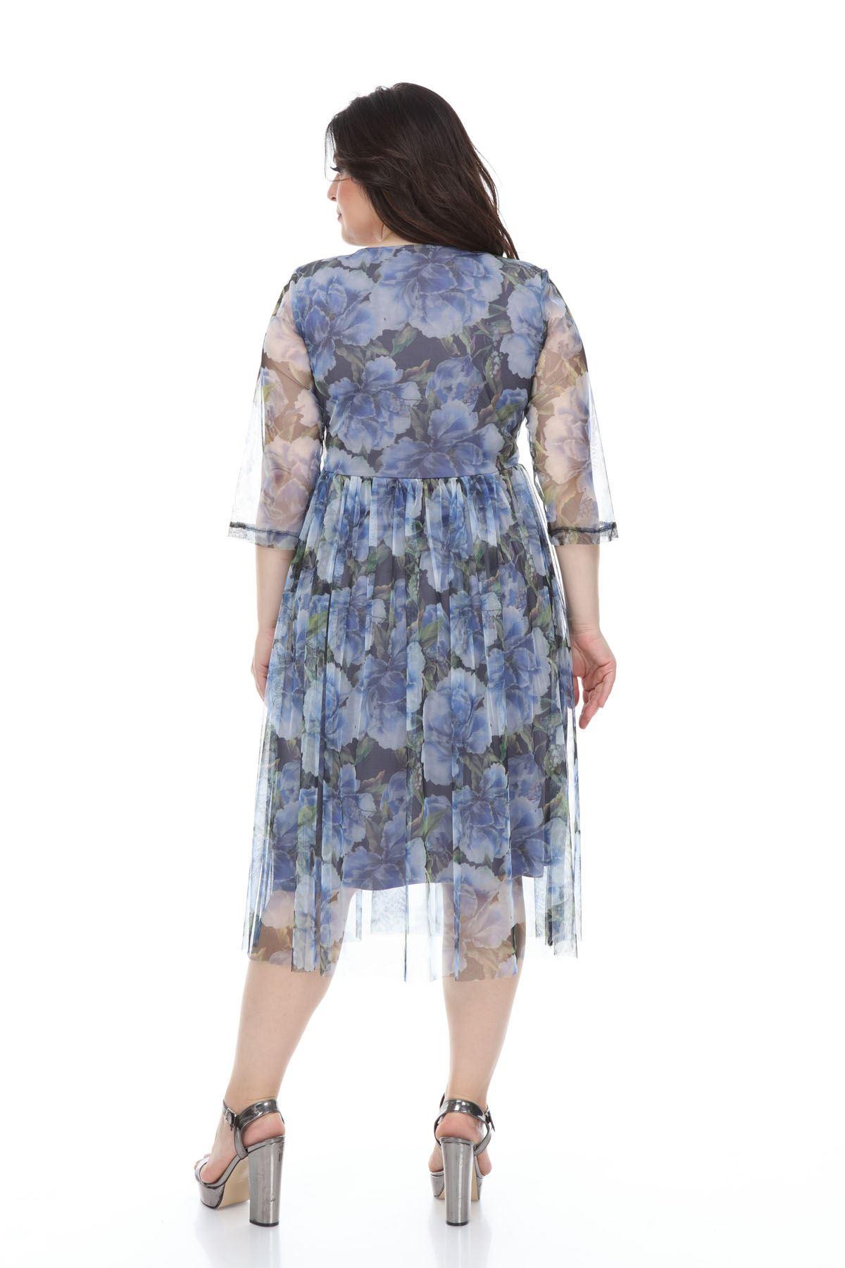 Desenli Şifon Büyük Beden Elbise G3-1100