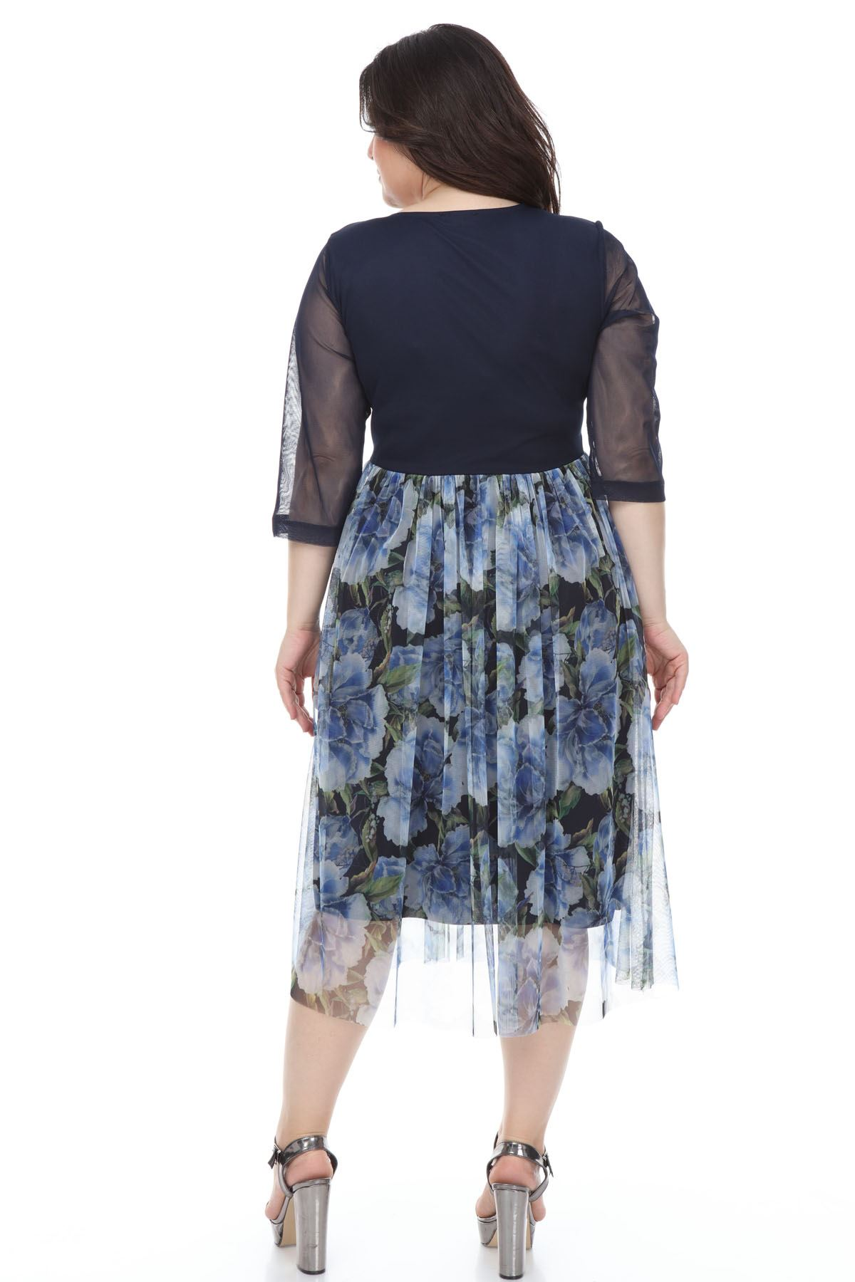 Lacivert Şifon Büyük Beden Elbise G3-1101