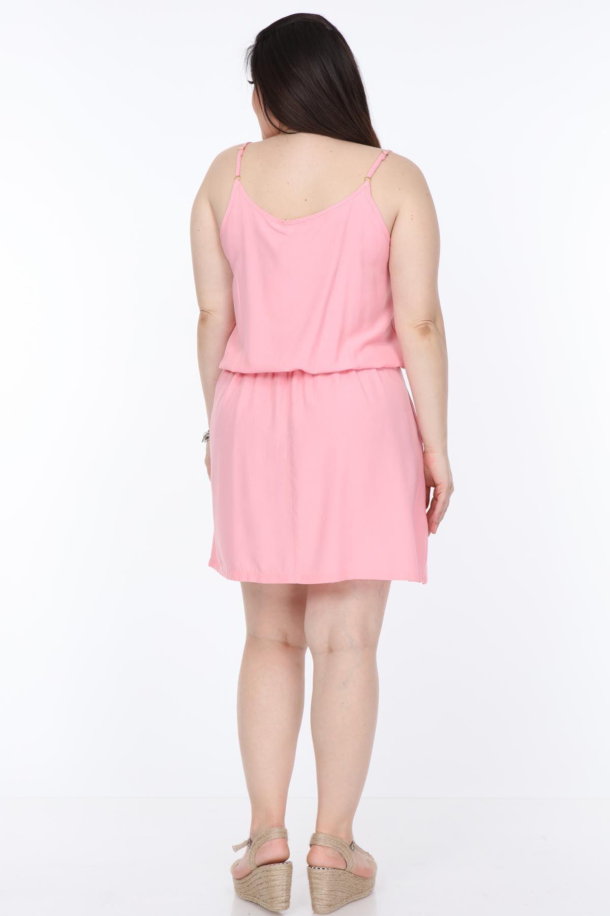 Pembe Askılı Büyük Beden Elbise 25A-1102