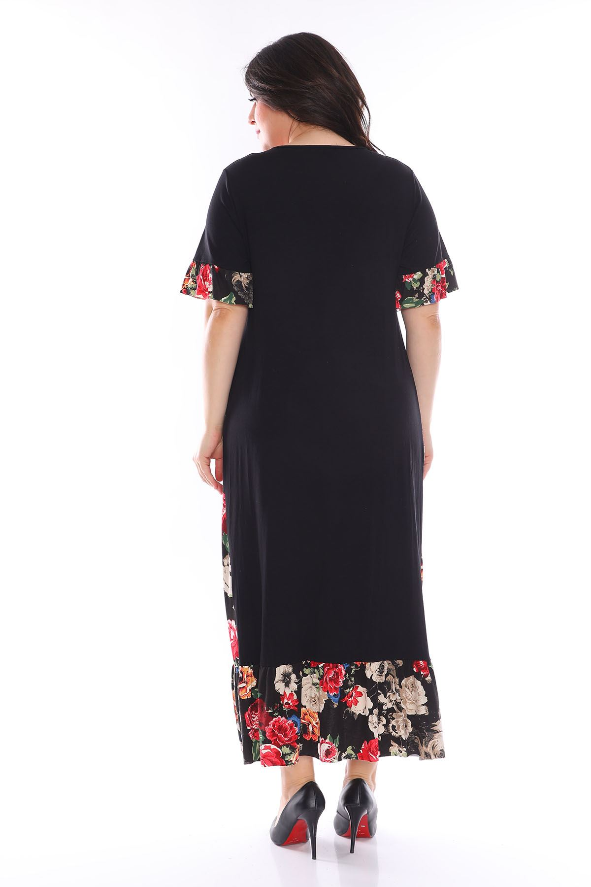Garnili Fırfırlı Büyük Beden Elbise 30Y-1112