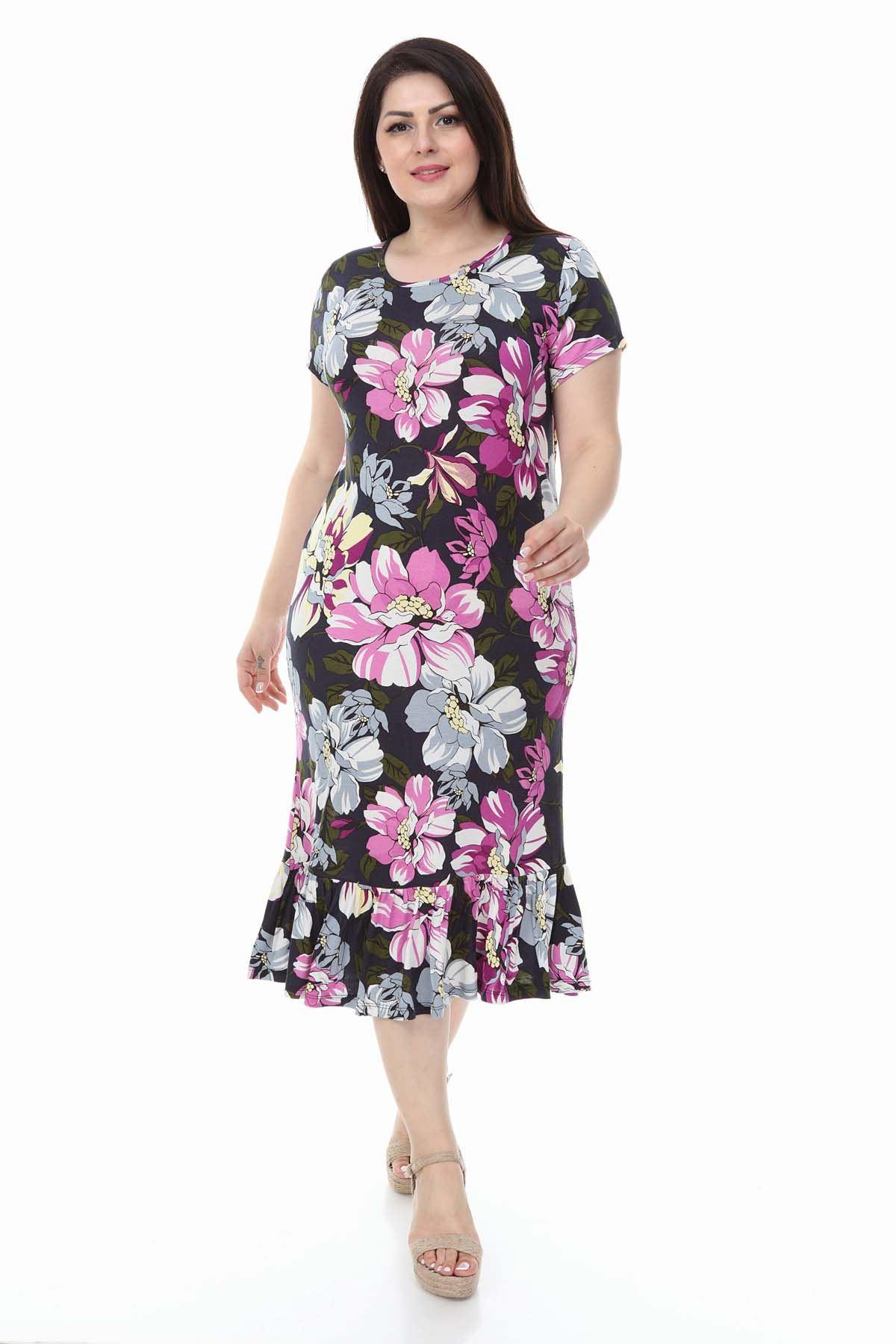 Eteği Fırfır Uzun Büyük Beden Elbise 30Y-1116