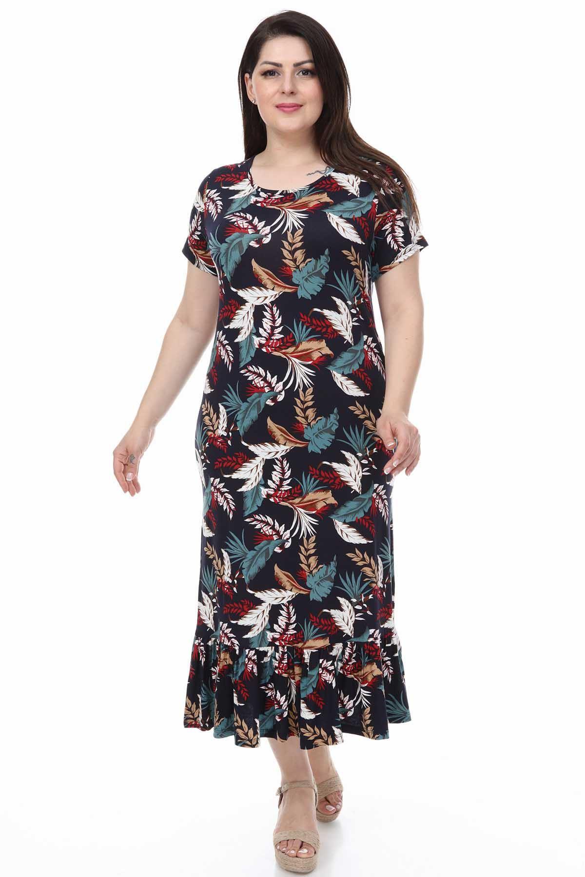Uçuşan Yapraklar Büyük Beden Elbise 30Y-1114