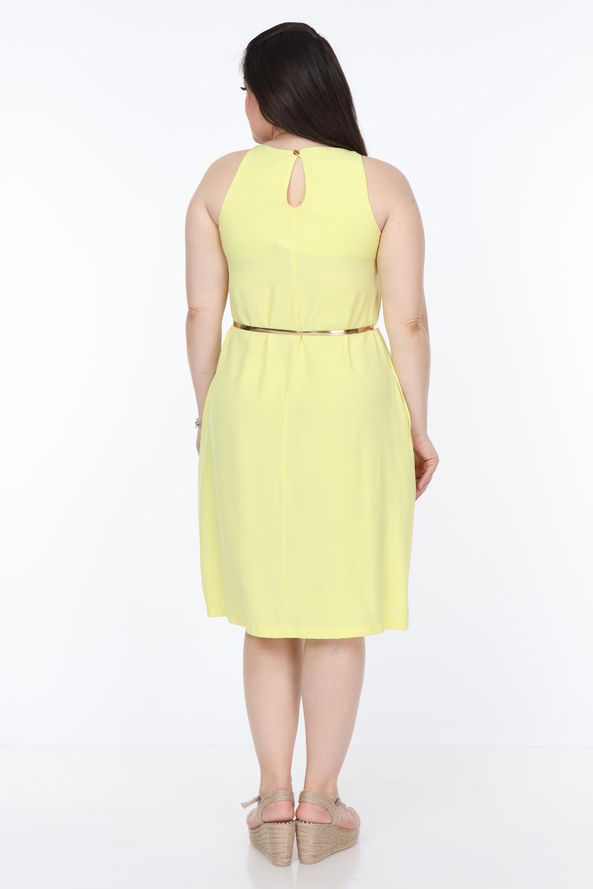 Yaka Detaylı Sarı Büyük Beden Elbise 1E-1045