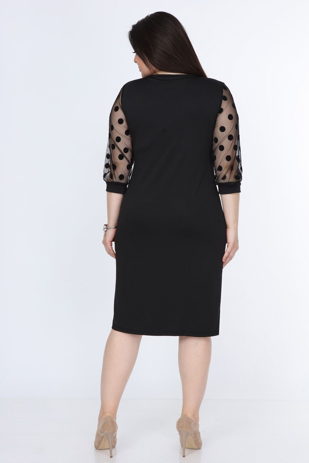 Puanlı Flok Kol Büyük Beden Elbise 12E-08951
