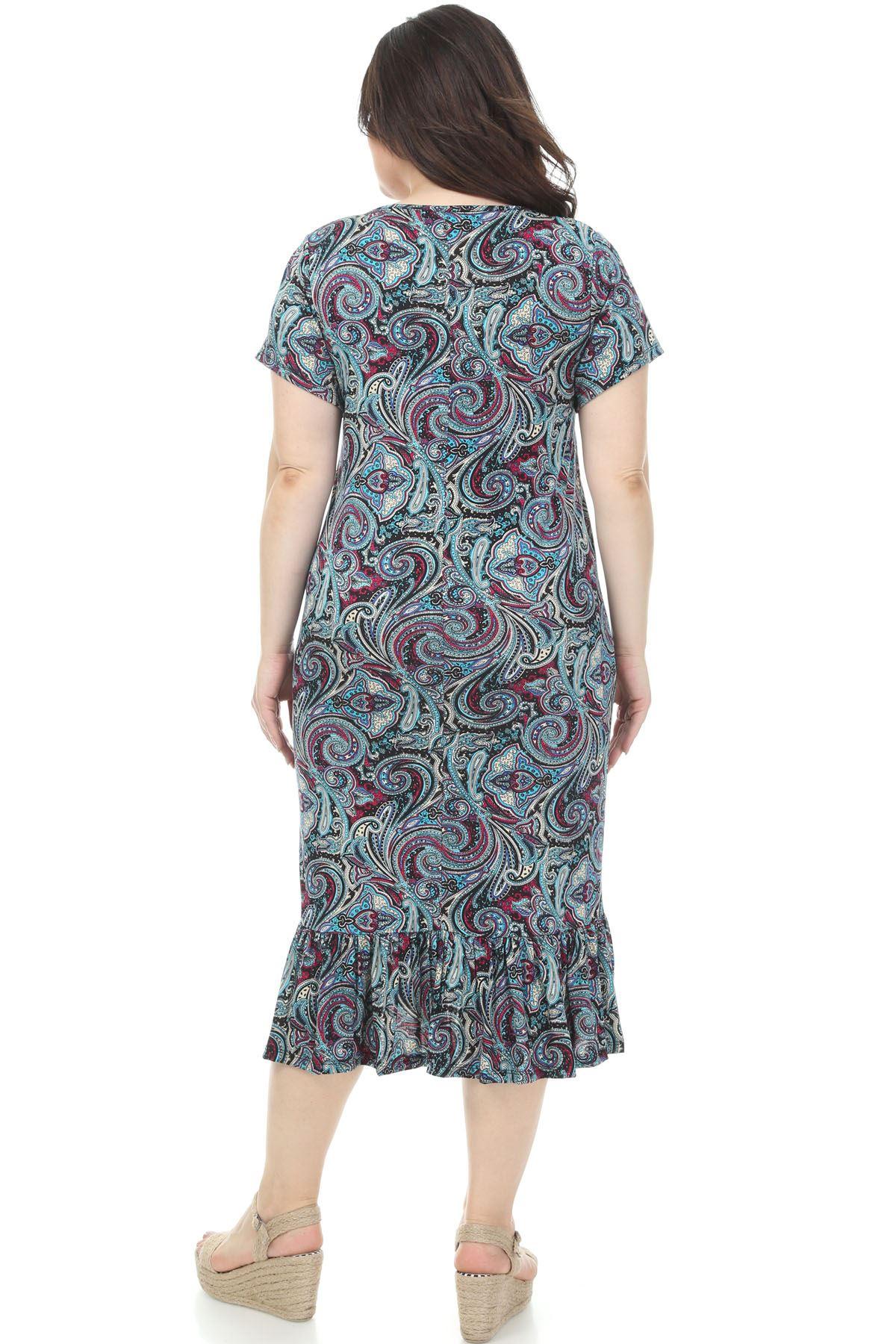 Elegance Desenli Büyük Beden Elbise 7C-1146