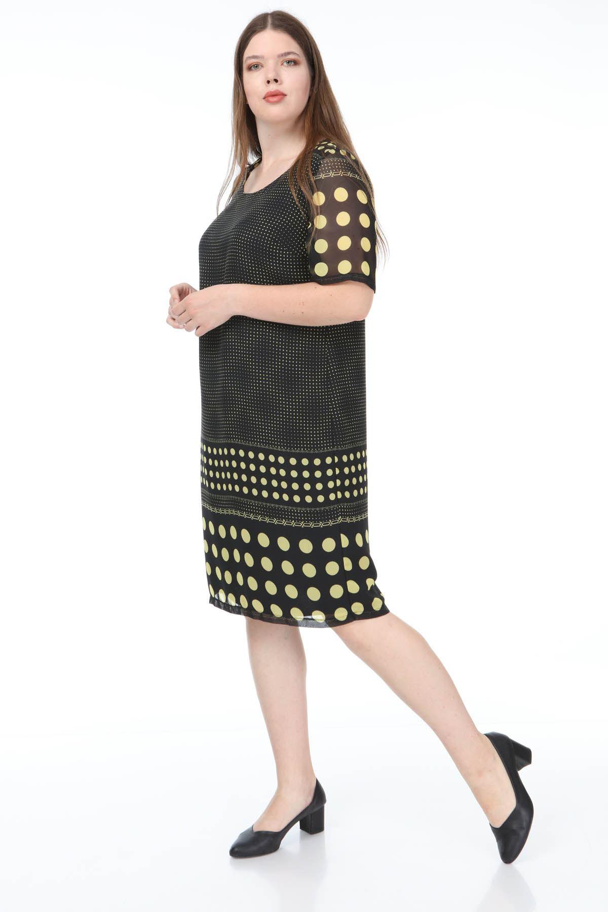 Puanlı Şifon Elbise F3-1179