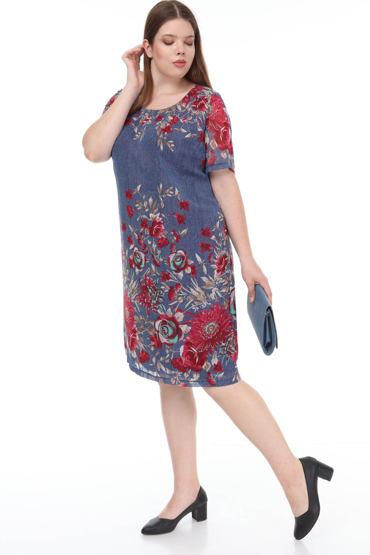 Çiçekli Şifon Elbise J1-1176