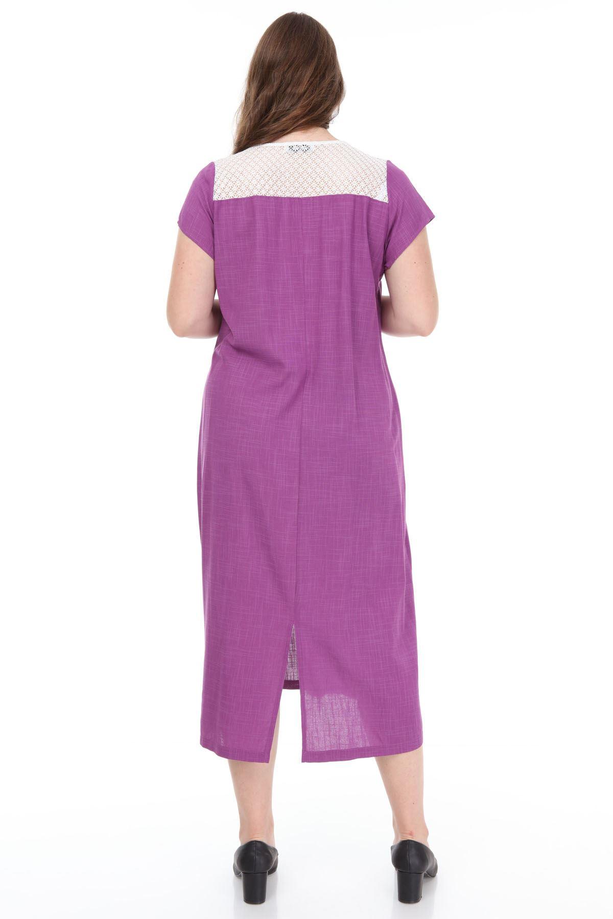 Mor Yazlık Elbise F1-1141