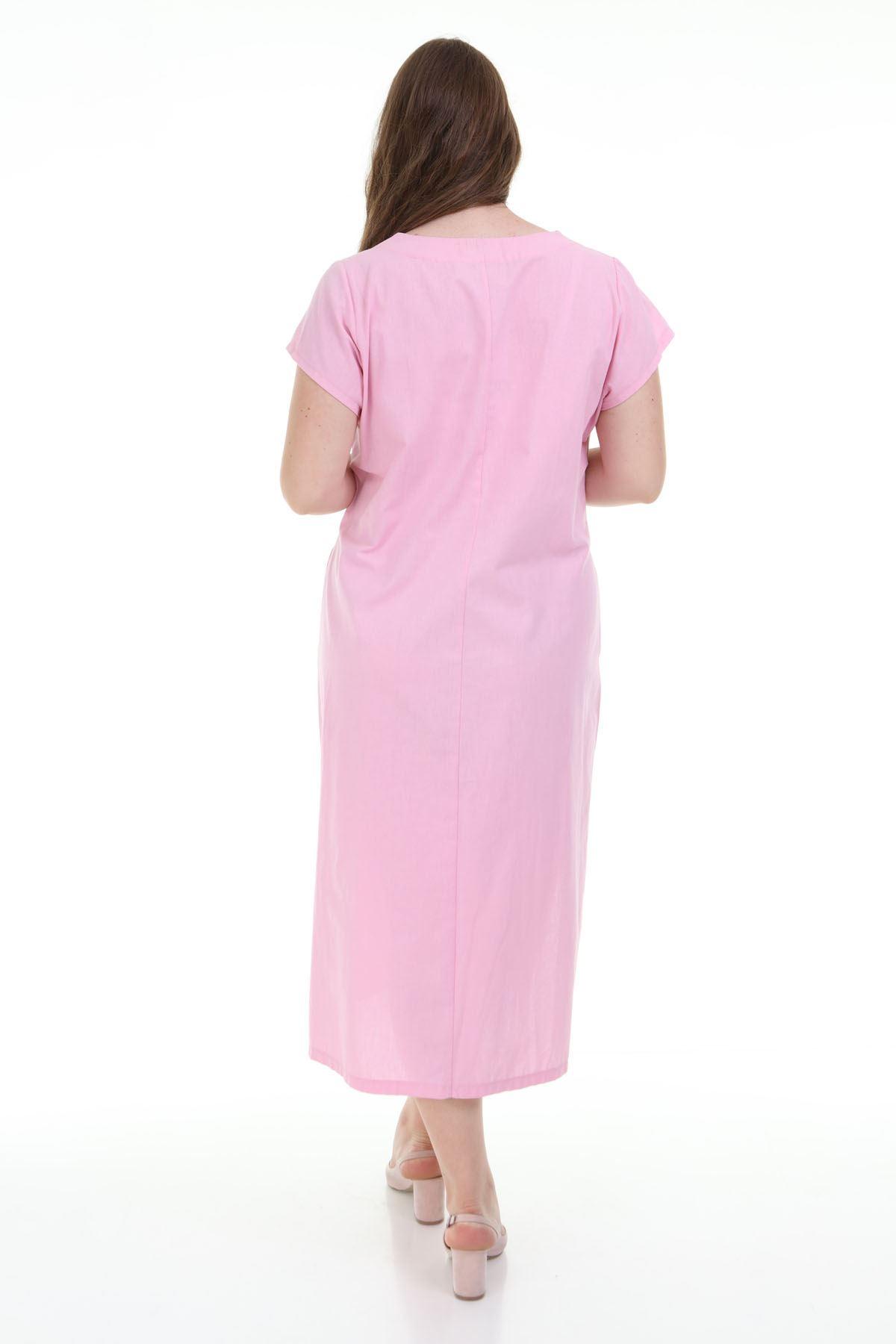 Pembe Baskılı Büyük Beden Elbise F1-1140