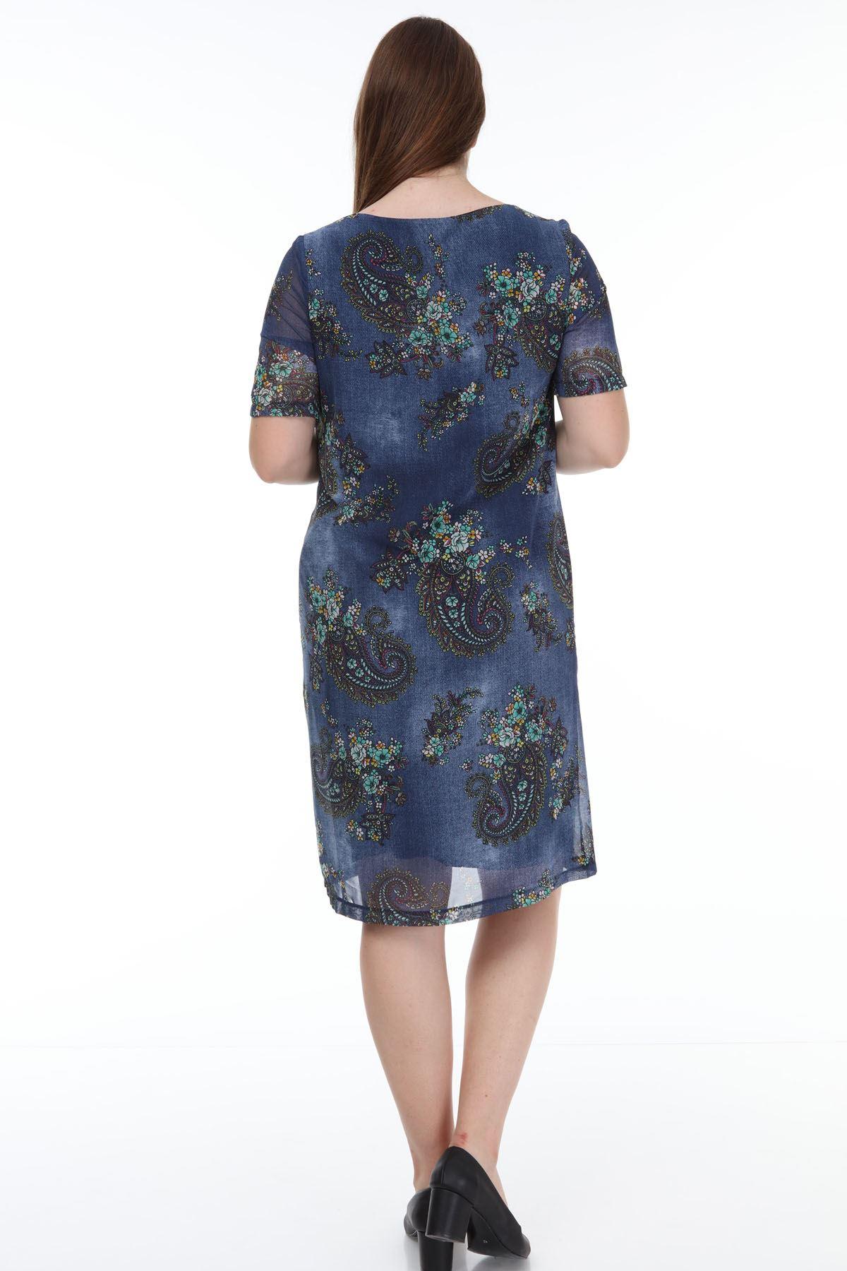 Çiçek Desenli Şifon Büyük Beden Elbise J1-1168