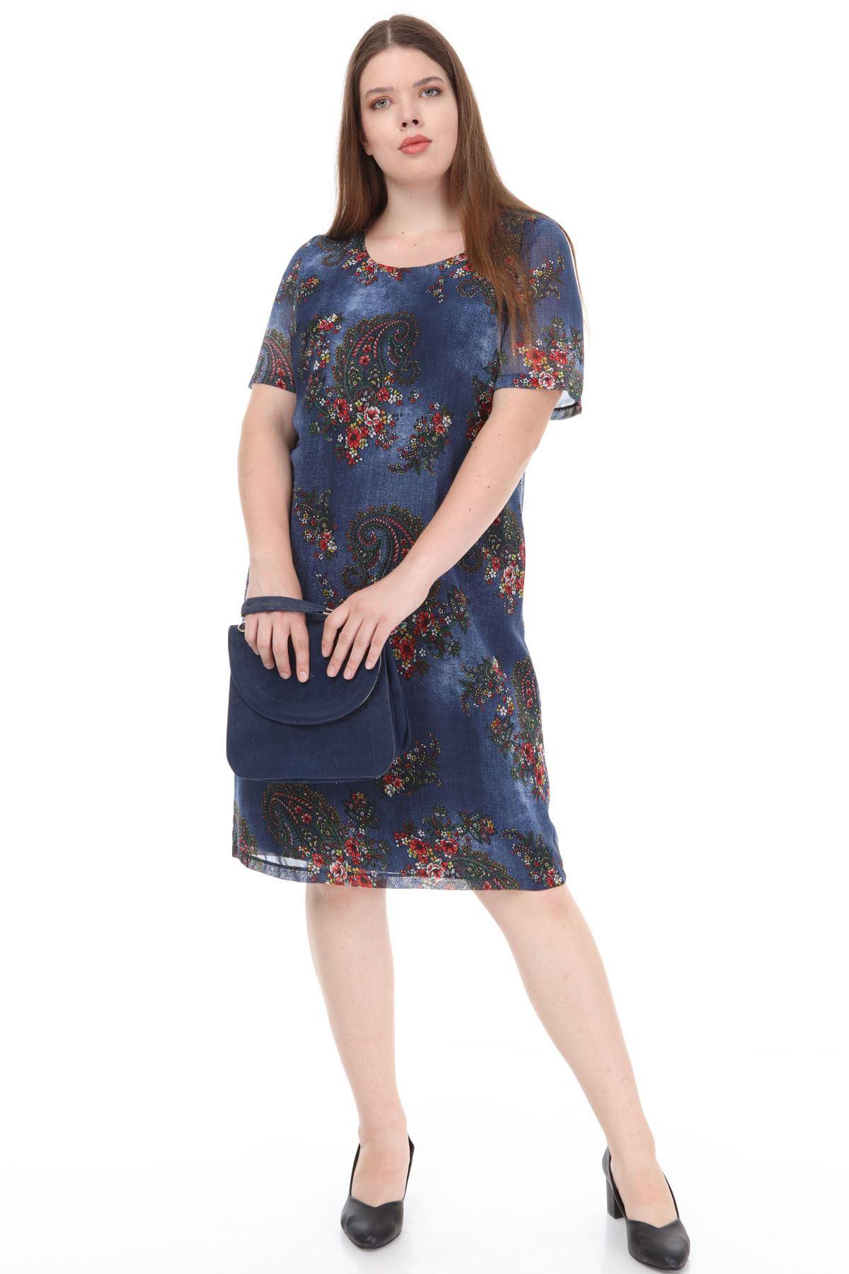 Çiçekli Desenli Şifon Elbise J1-1174