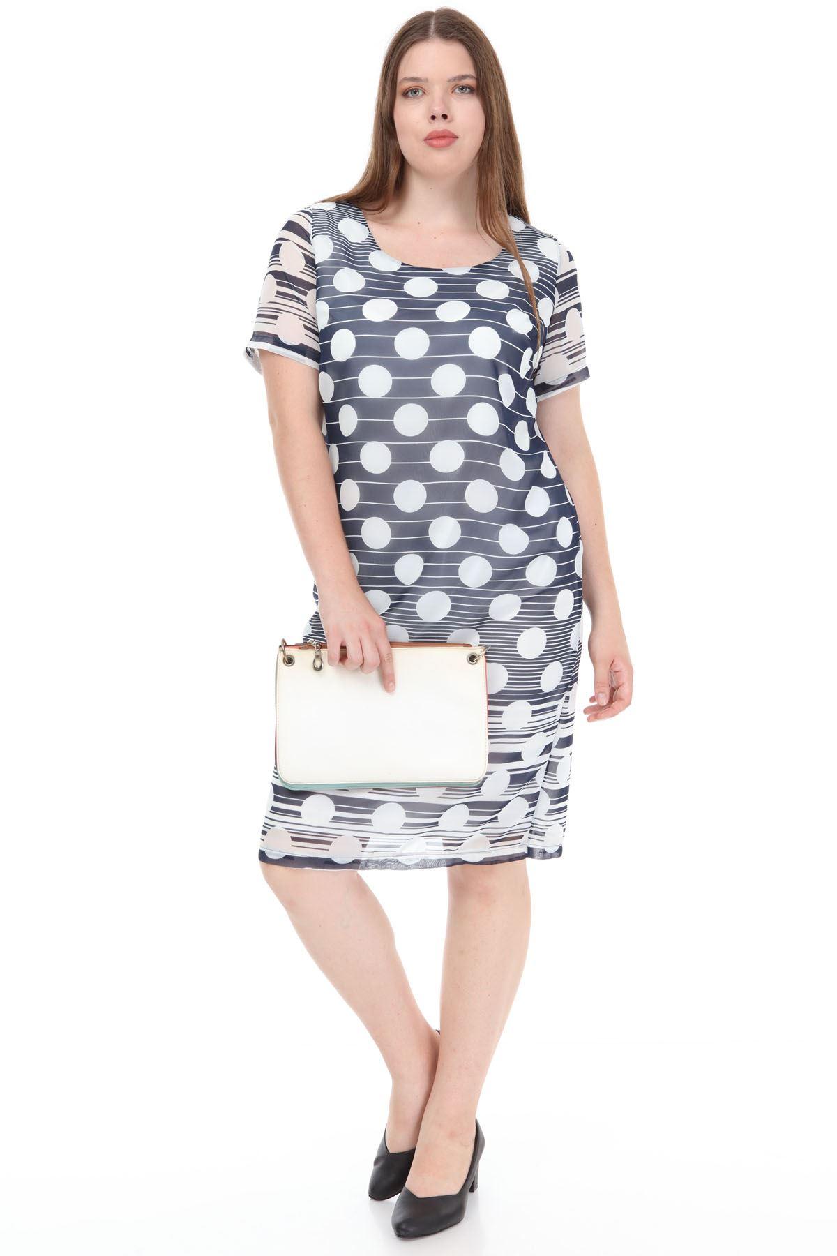 Lacivert Puanlı Şifon Elbise F2-1126