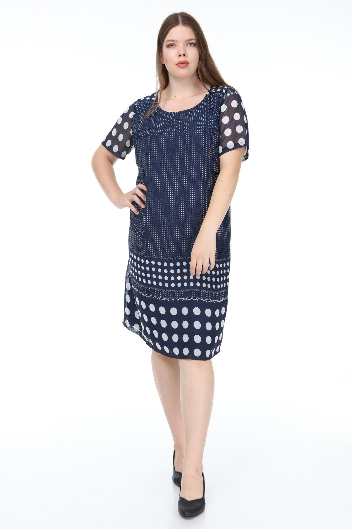 Lacivert Beyaz Şifon Elbise F2-1177