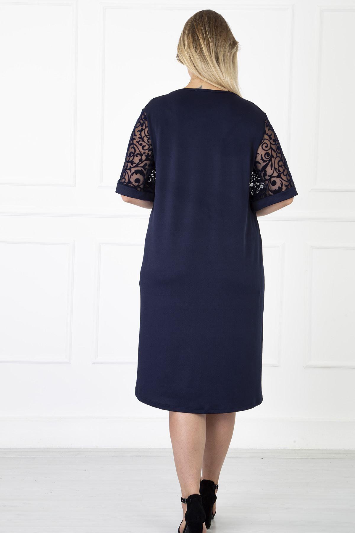 Kimono Kol Lacivert Büyük Beden Elbise 31B-1182