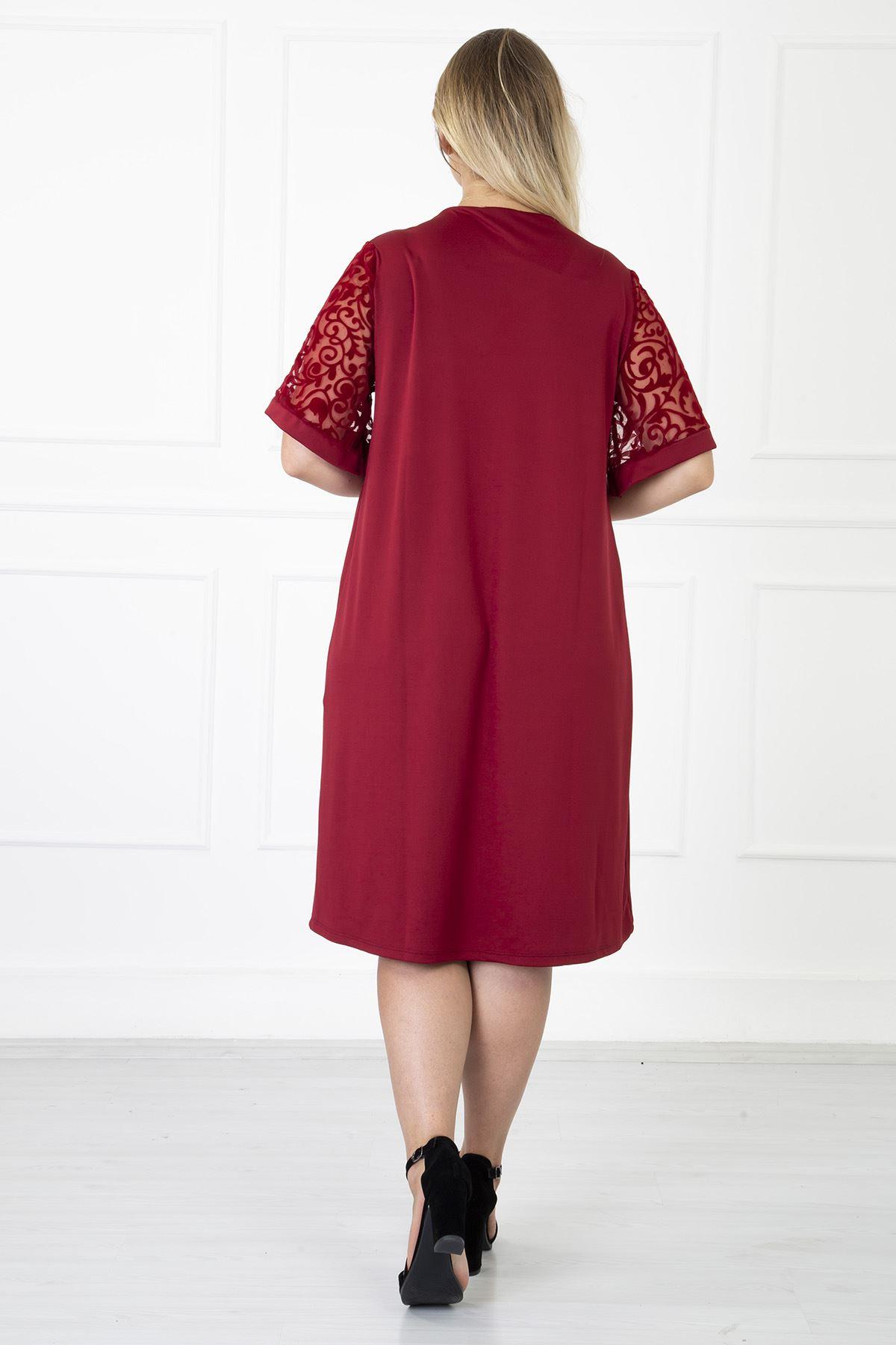 Kimono Kol Bordo Büyük Beden Elbise 31B-1181