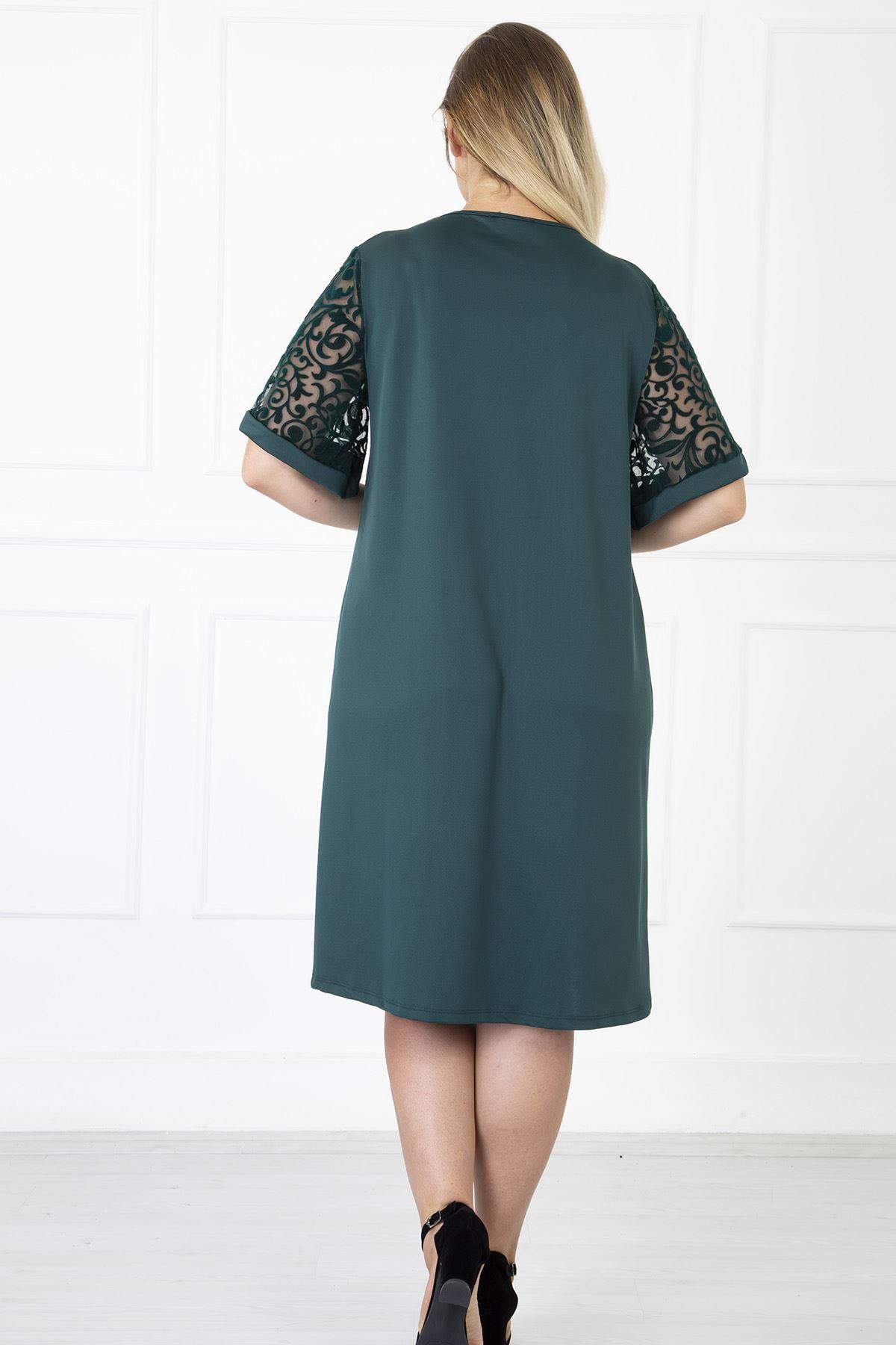 Kimono Kol Yeşil Büyük Beden Elbise 31B-1180