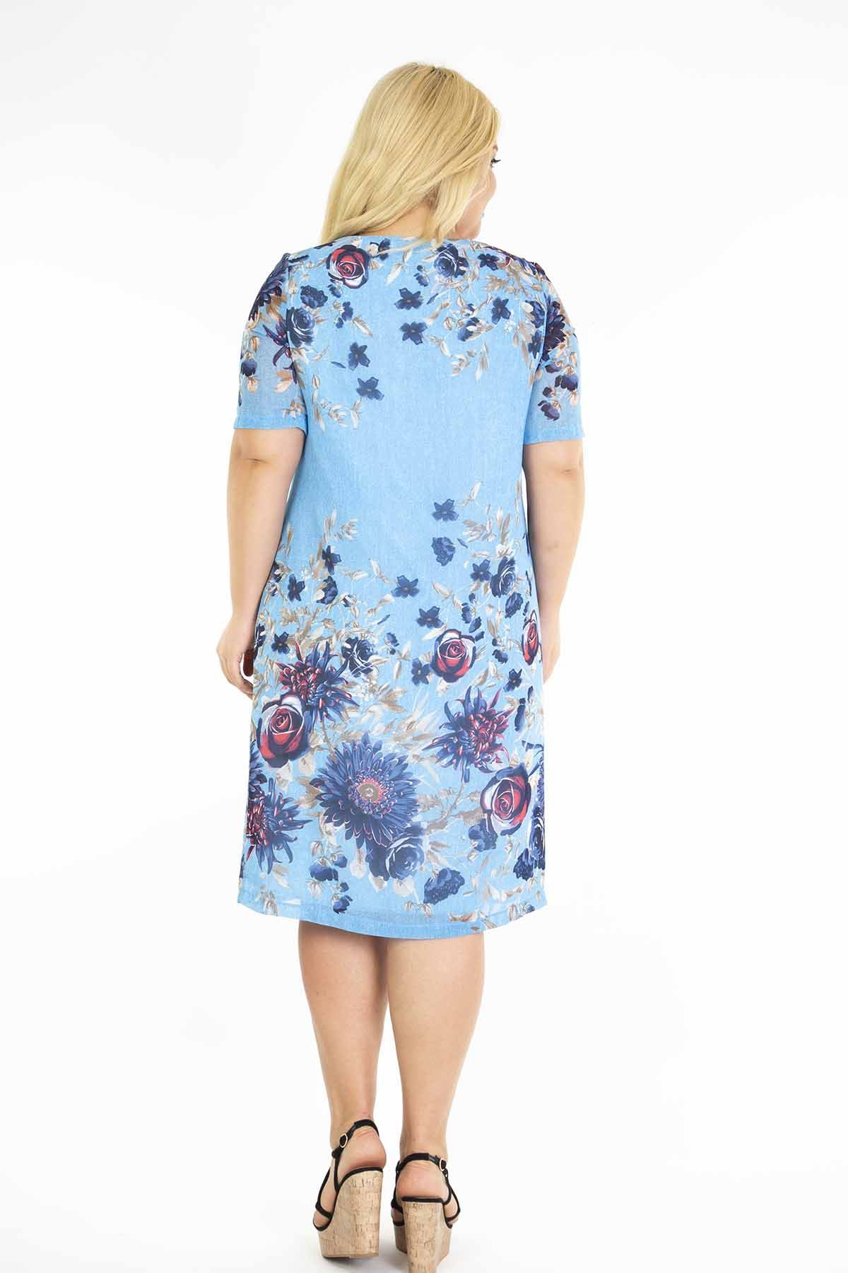 Mavi Şifon Büyük Beden Elbise J3-1172