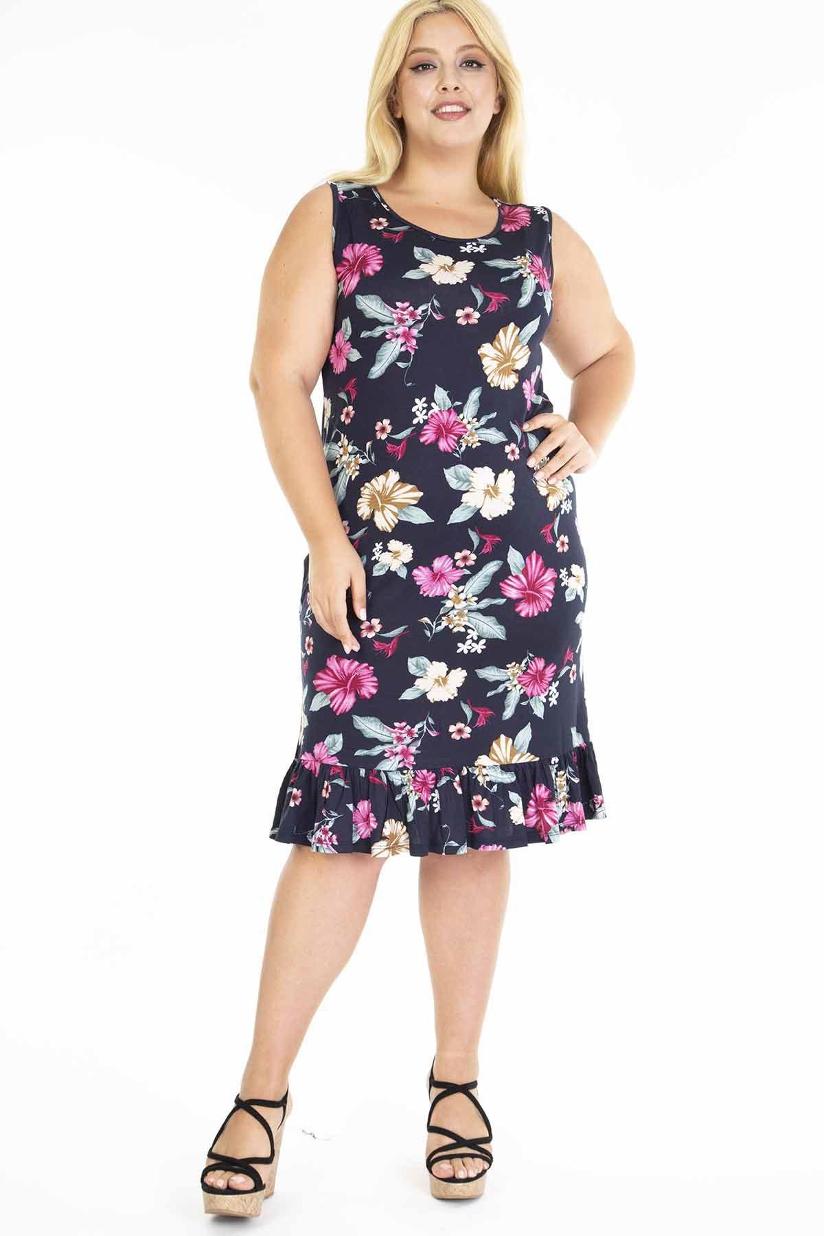 Lacivert Eteği Fırfırlı Askılı Büyük Beden Elbise 14E-1199