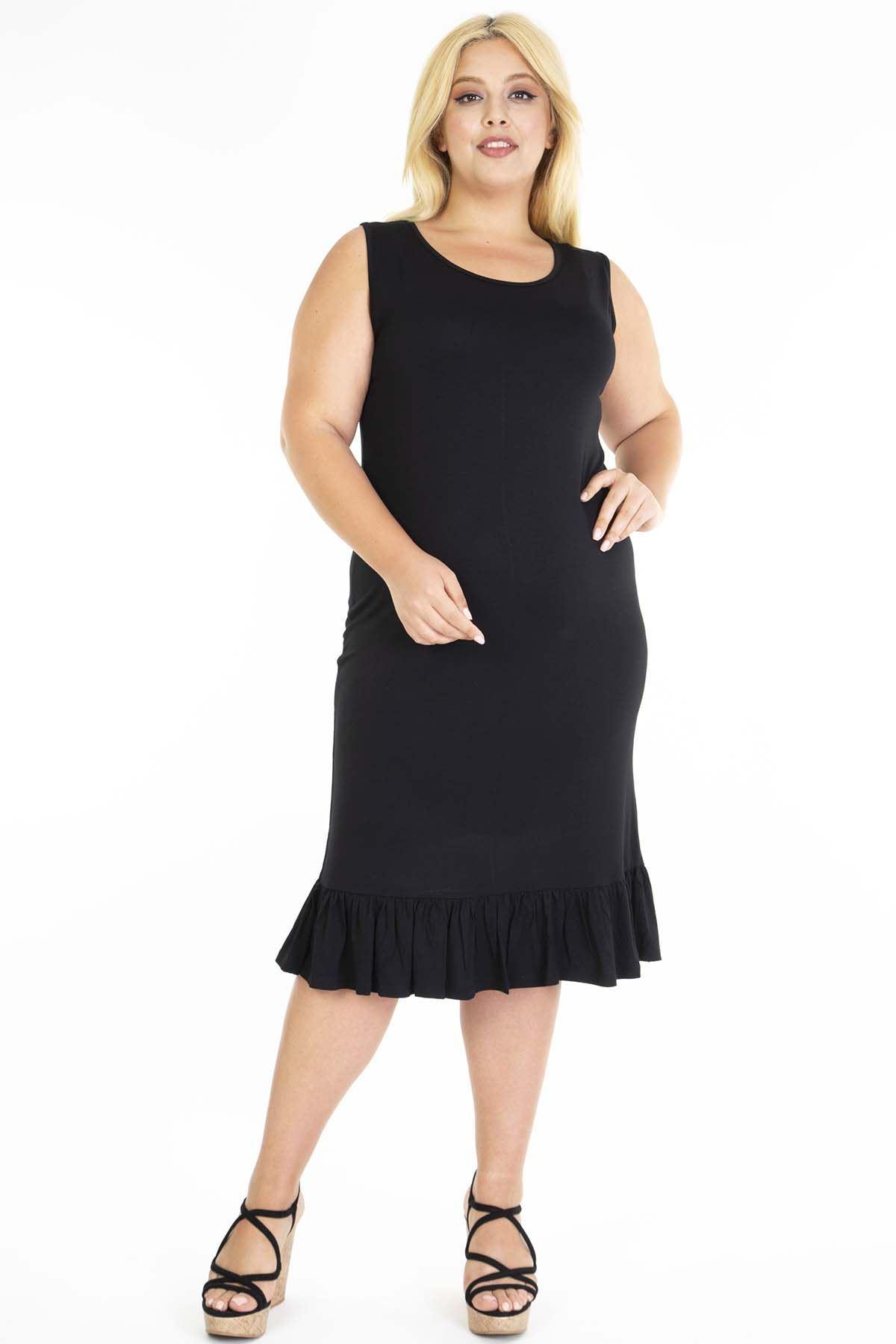 Siyah Eteği Fırfırlı Askılı Büyük Beden Elbise 25D-1201