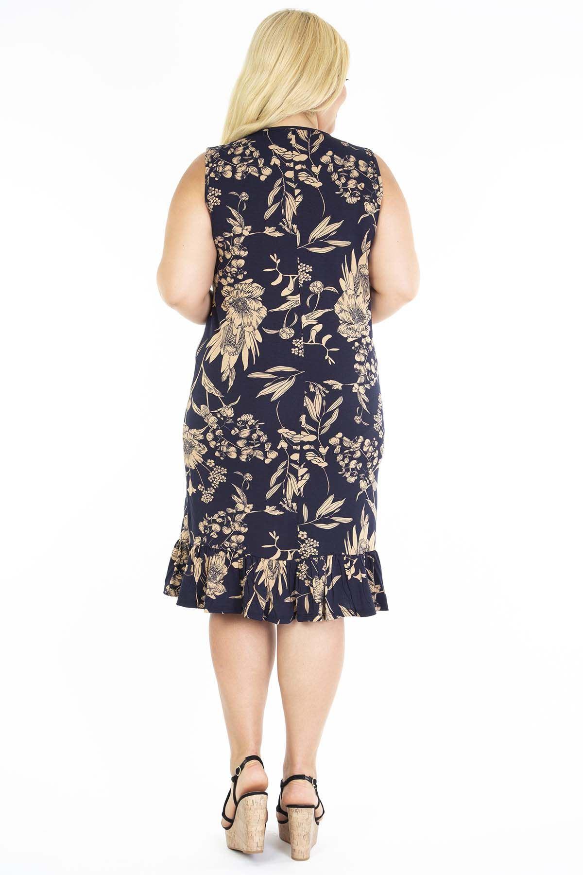 Siyah Desenli Kolsuz Büyük Beden Elbise 10D-1198