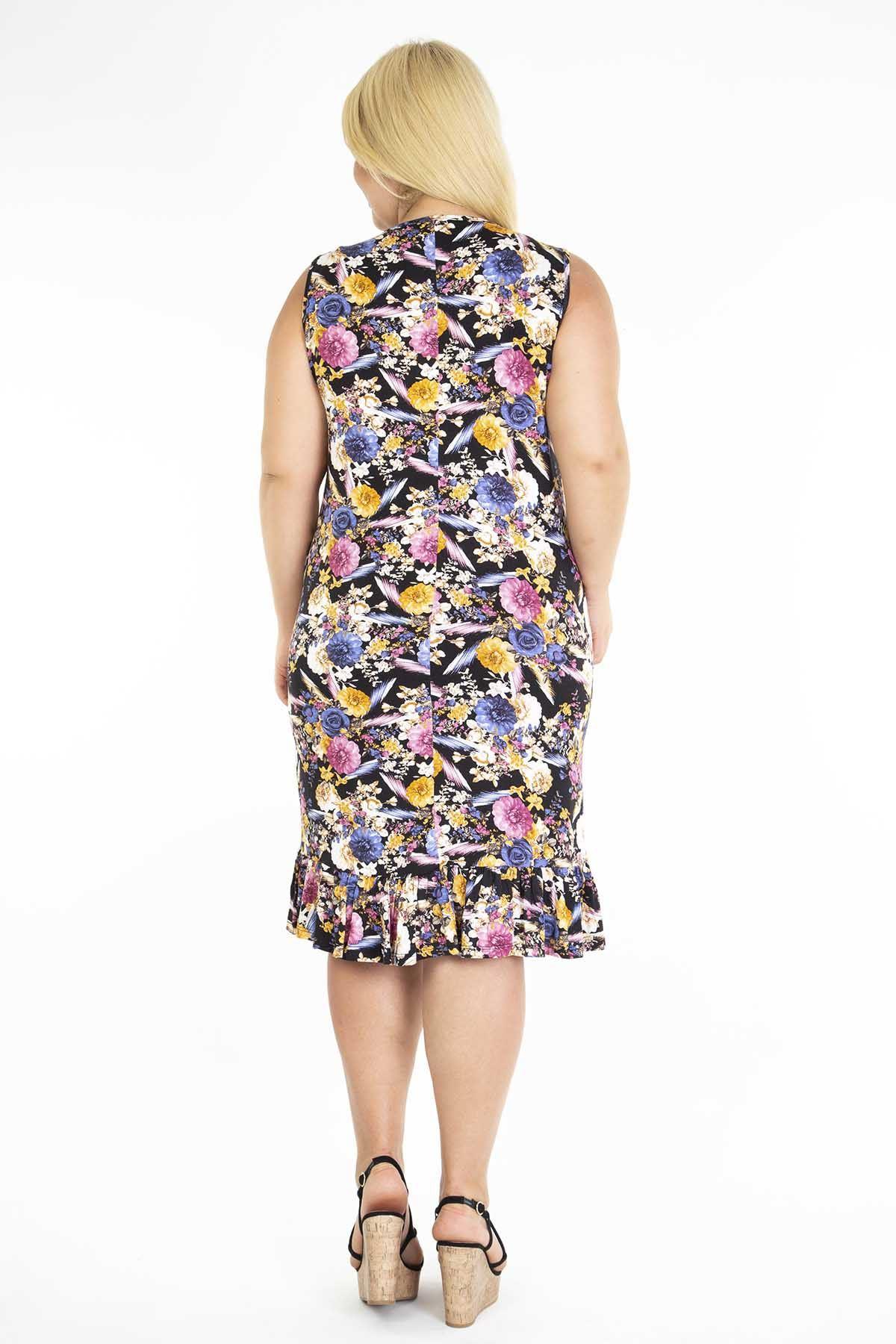 Desenli Eteği Fırfırlı Kolsuz Büyük Beden Elbise 10A-1197