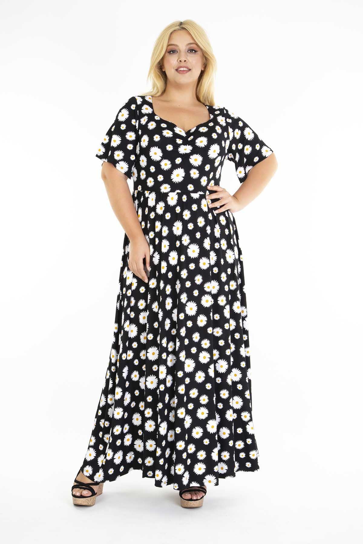 Papatya Desenli Siyah Elbise 31D-1209