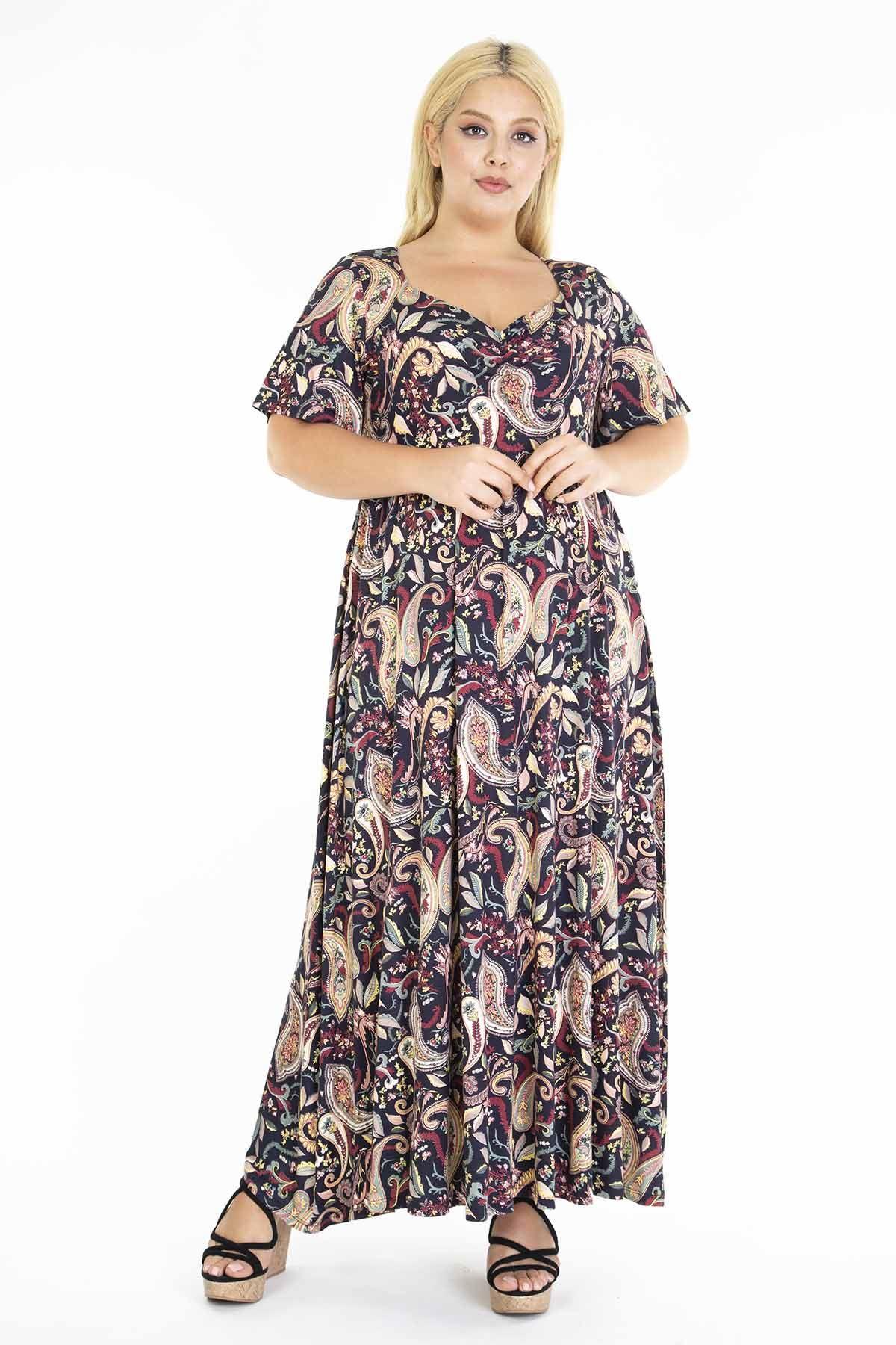 Desenli Siyah Uzun Büyük Beden Elbise 31D-1211