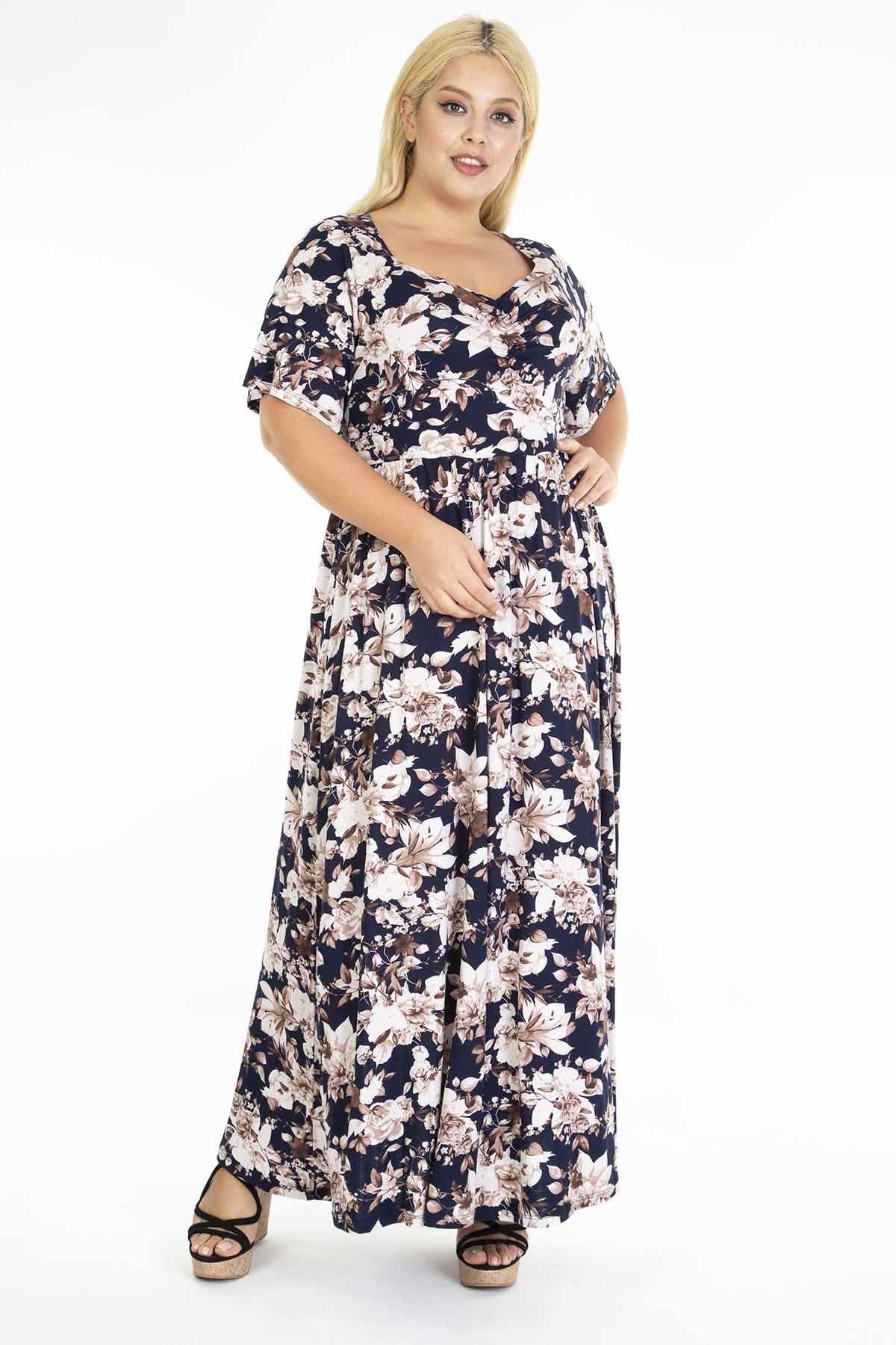 Çiçek Desenli Uzun Büyük Beden Elbise 31D-1217