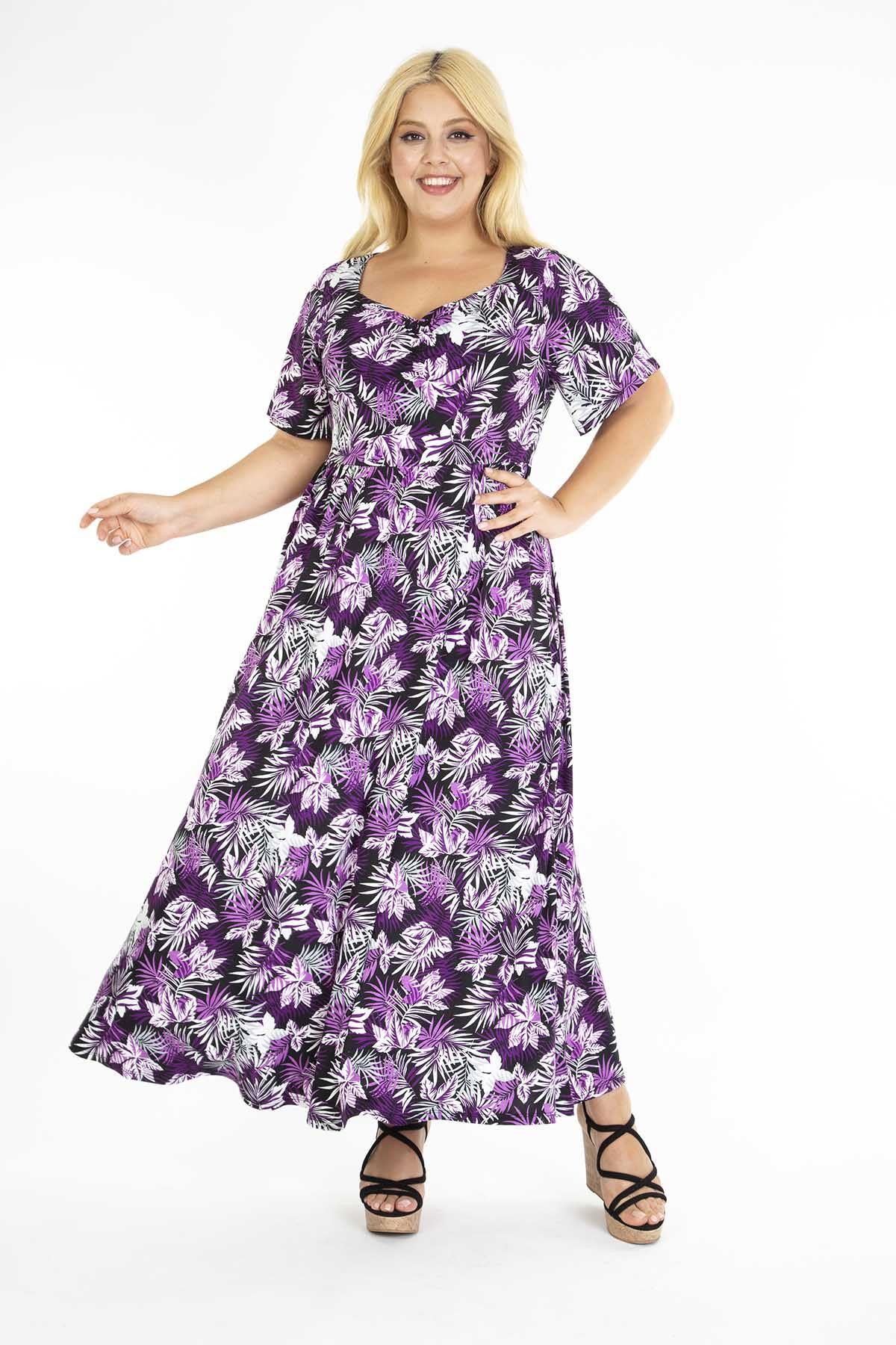 Mor Çiçekli Desenli Uzun Büyük Beden Elbise 31D-1220