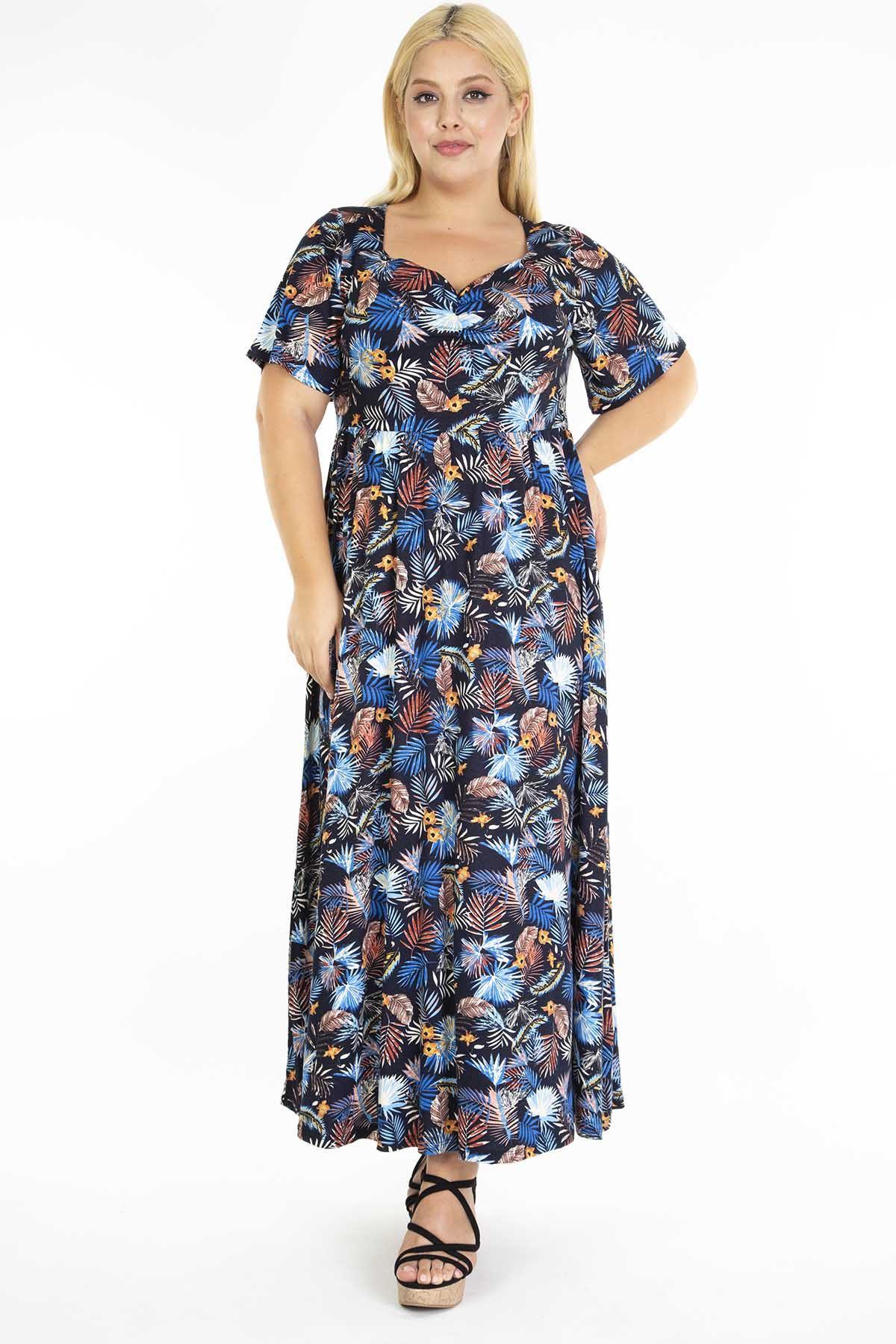 Mavi Çiçekli Desenli Büyük Beden Uzun Elbise 21A-1221