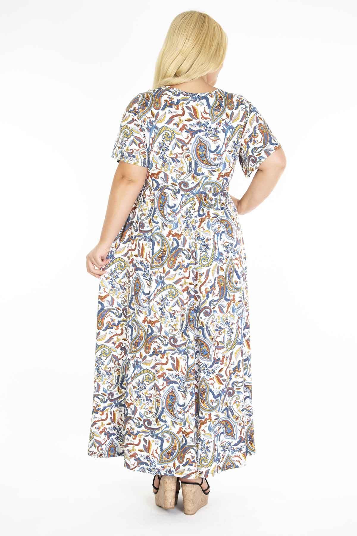 Desenli Uzun Beyaz Elbise 31B-1216