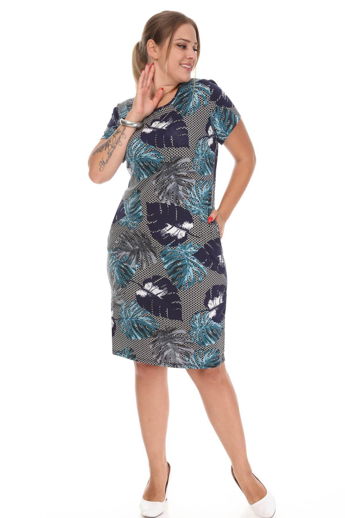 Lacivert Desenli Cepli Büyük Beden Elbise 5B-1222