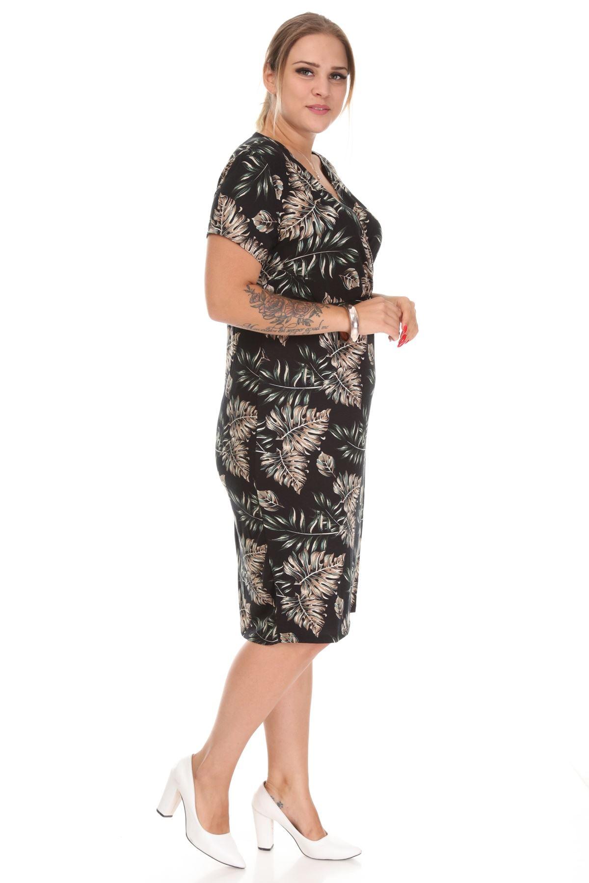 Desenli Kruvaze Yaka Büyük Beden Elbise 18B-1225