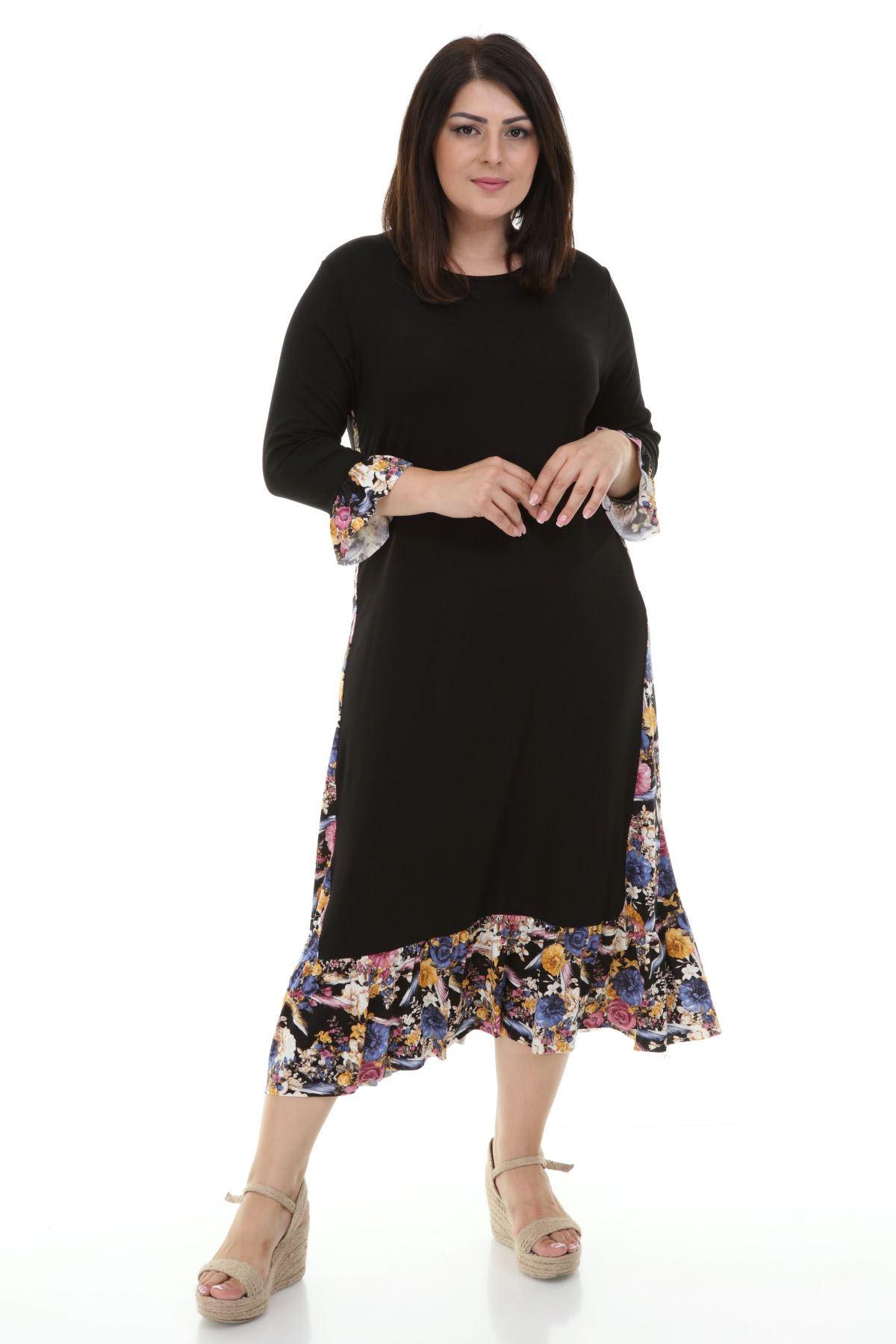 Garnili Uzun Büyük Beden Elbise 12E-1234