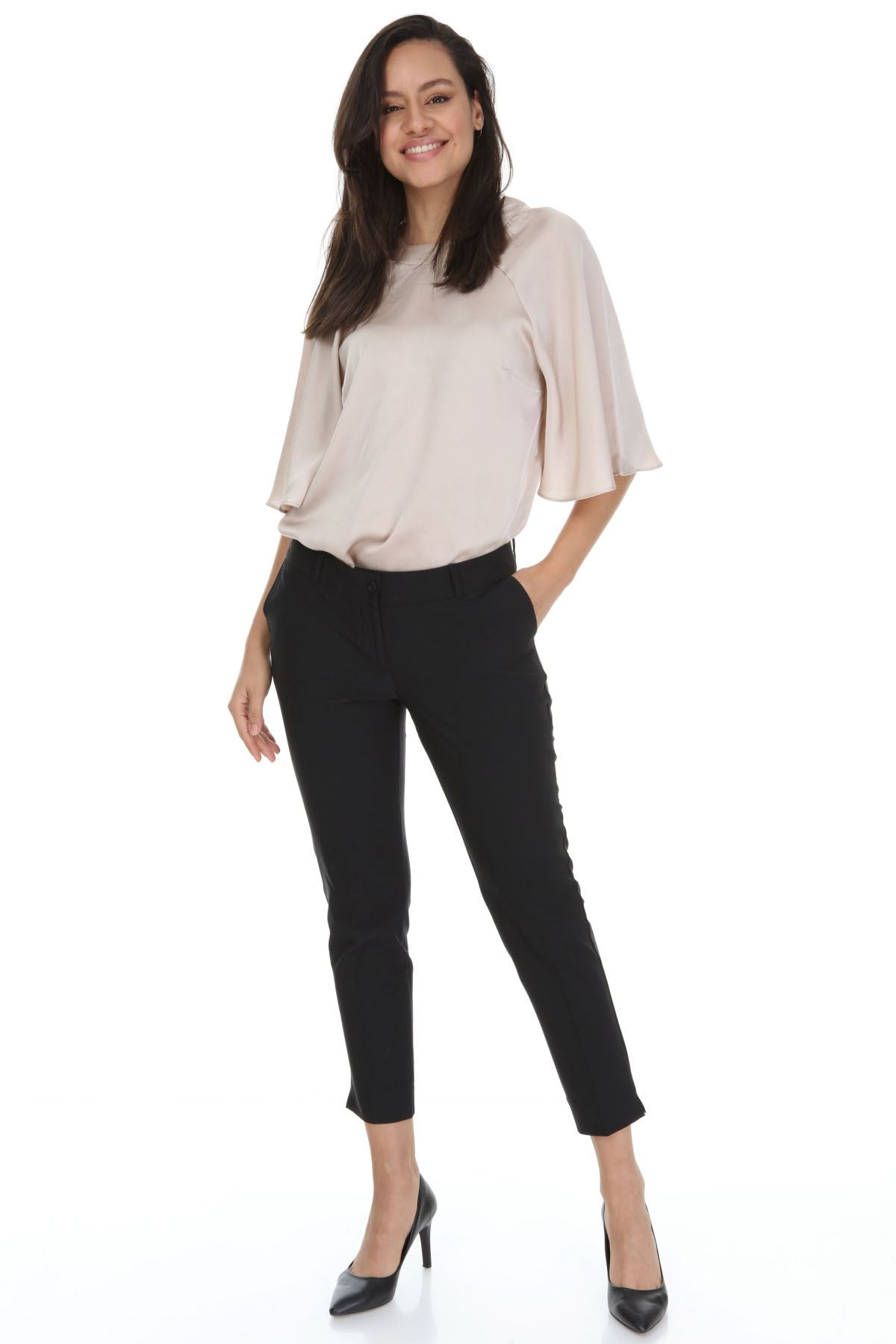 Siyah Kumaş Büyük Beden Pantolon 31E-3164