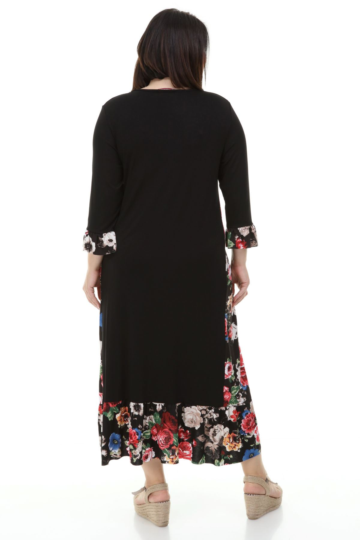 Garnili Uzun Büyük Beden Elbise 20Y-1243