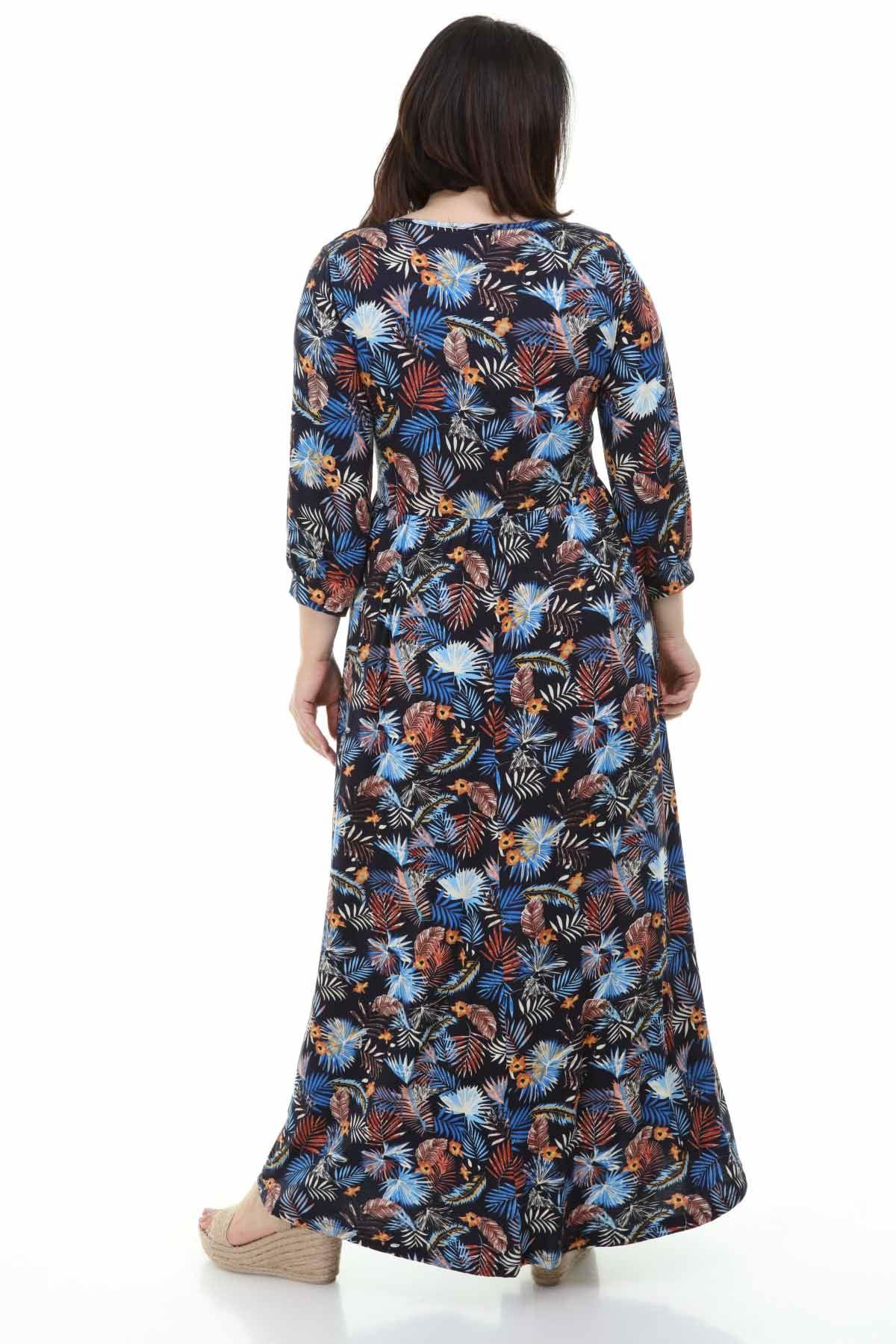 Mavi Çiçekli Siyah Büyük Beden Elbise 18E-1254