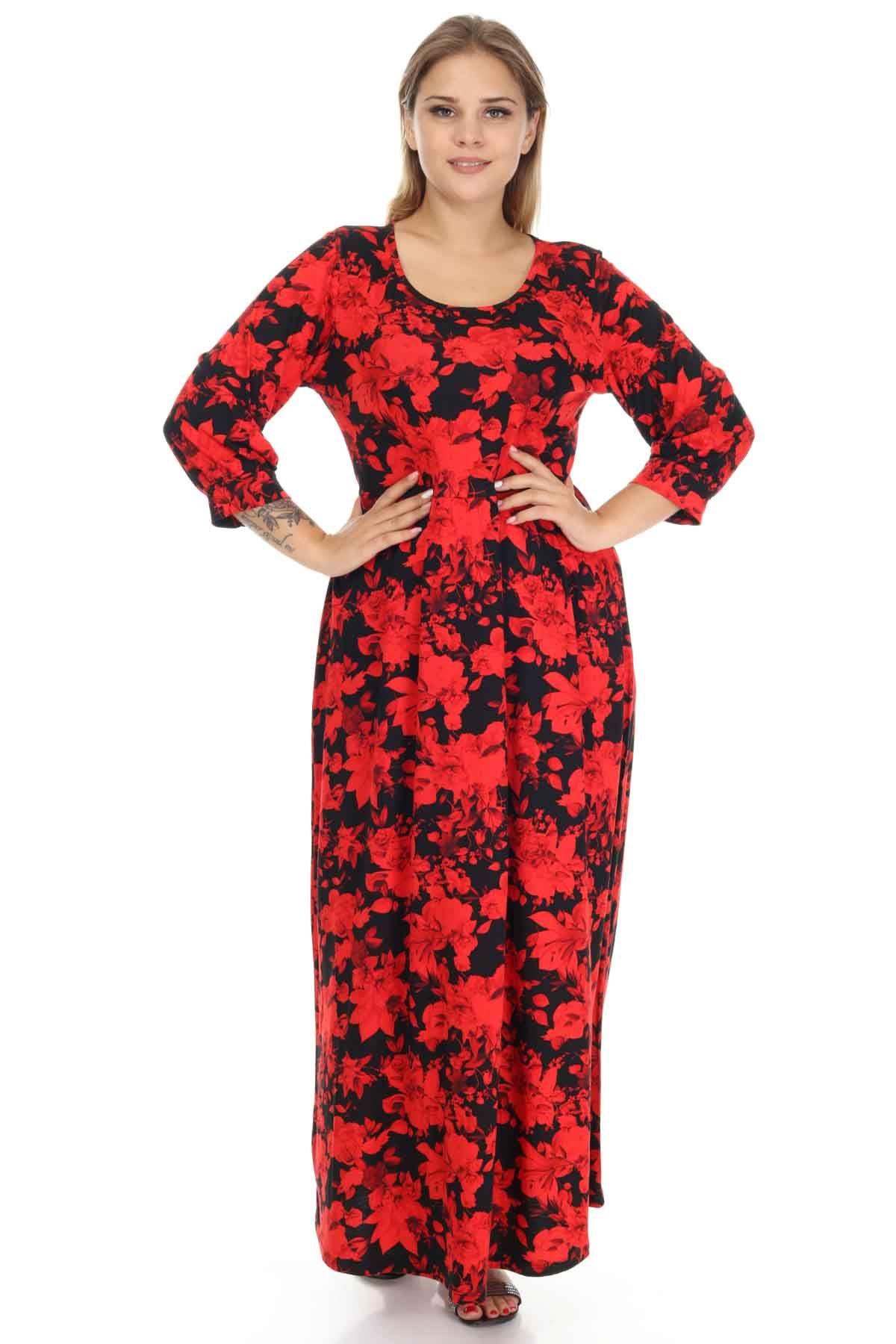 Kırmızı Çiçekli Siyah Büyük Beden Elbise 15E-1252
