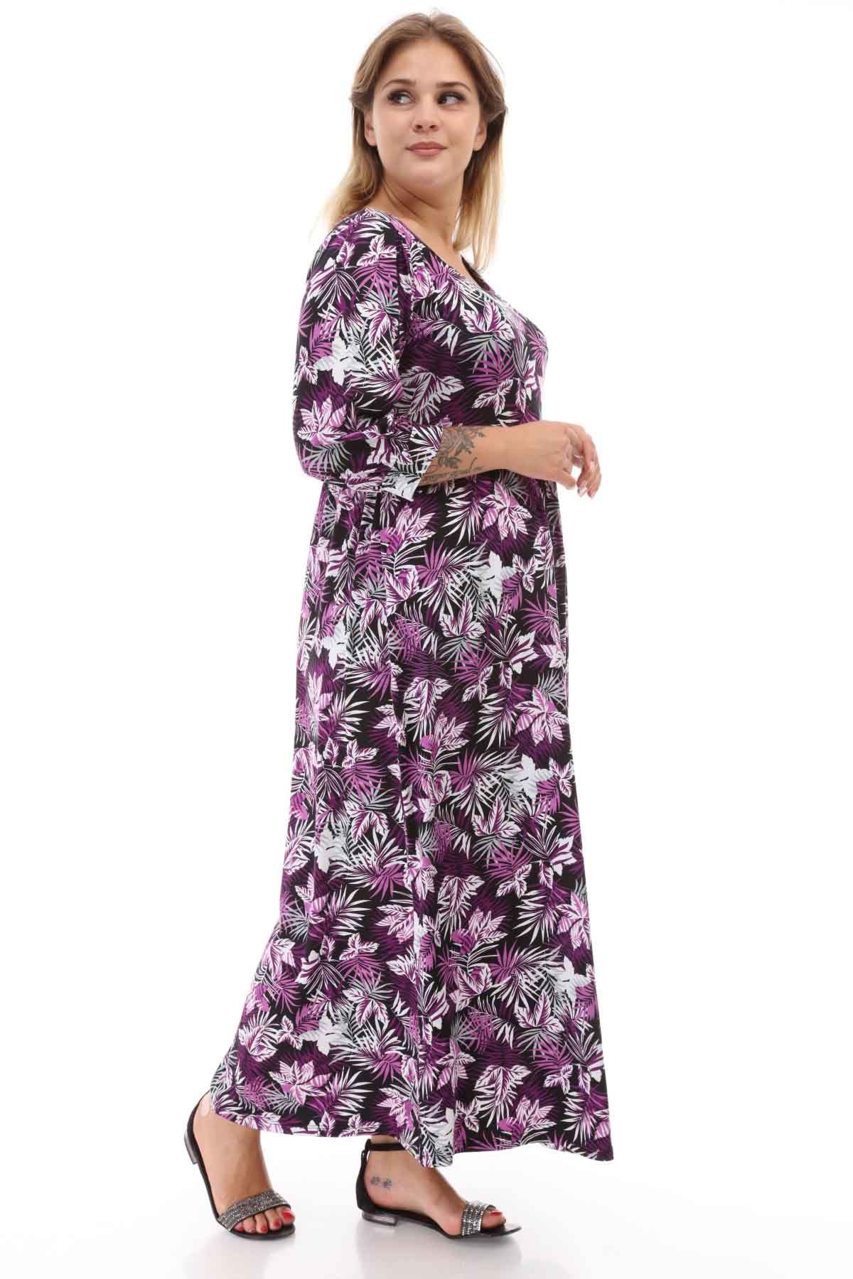 Lila Çiçekli Siyah Büyük Beden Elbise 21E-1251