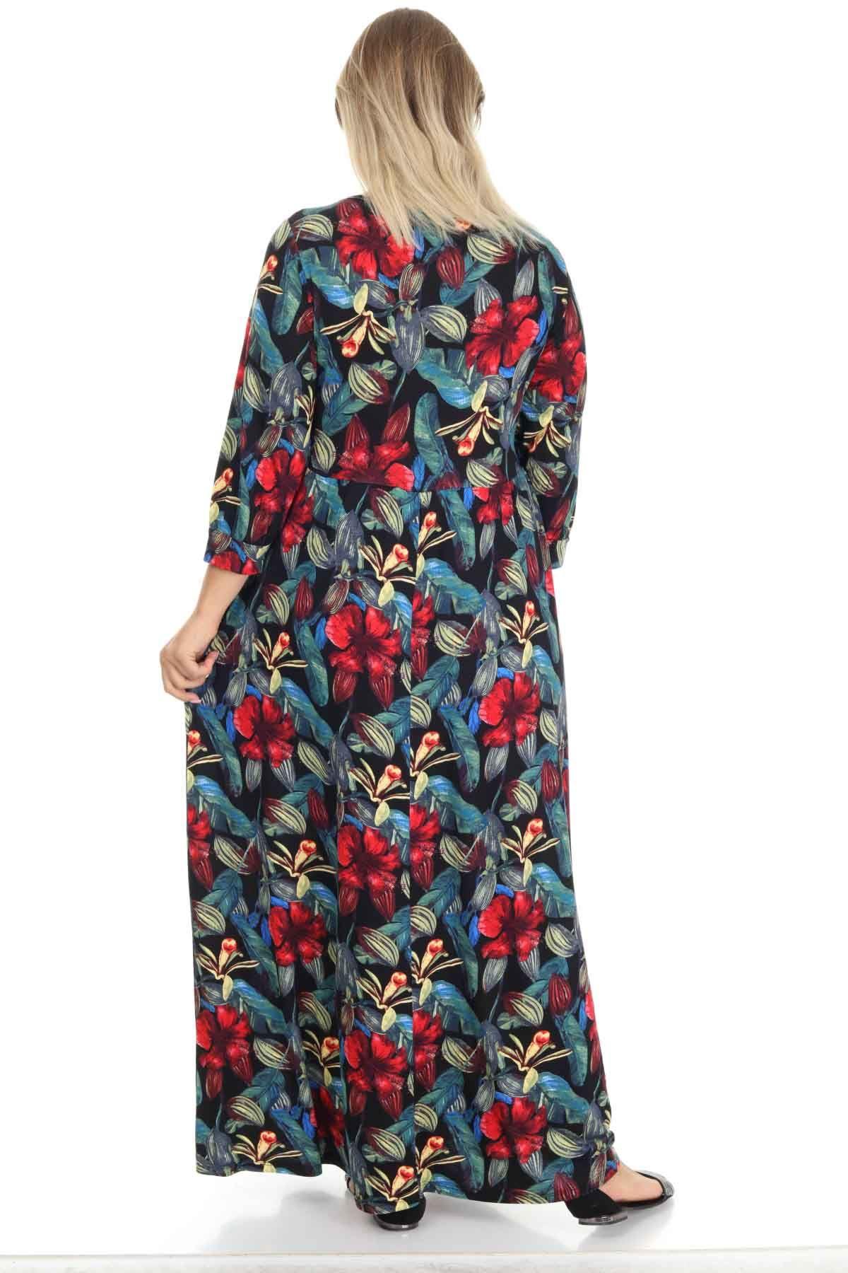 Yuvarlak Yaka Uzun Büyük Beden Elbise 21F-1250