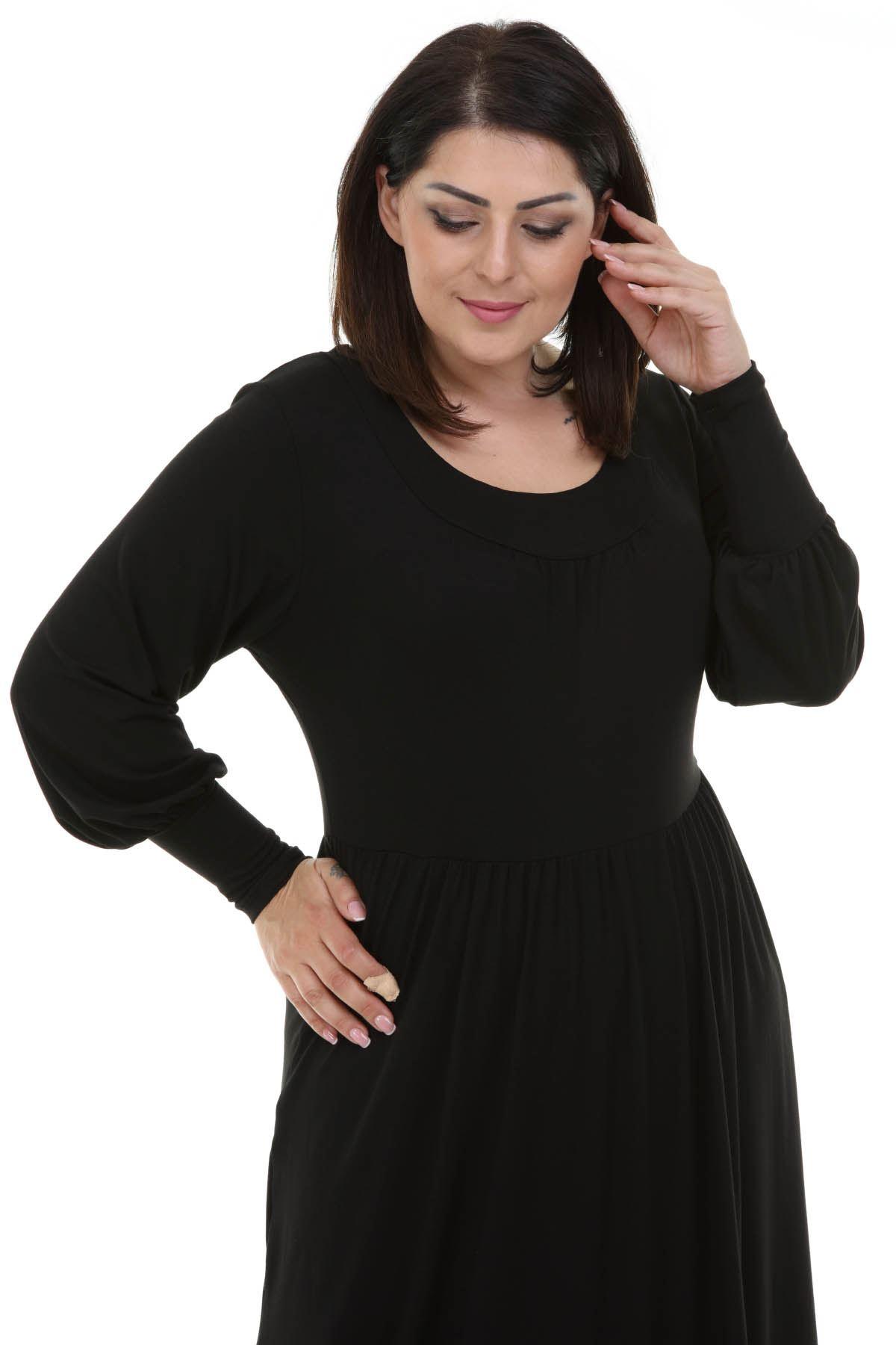 Siyah Büyük Beden Uzun Elbise 20Y-1246