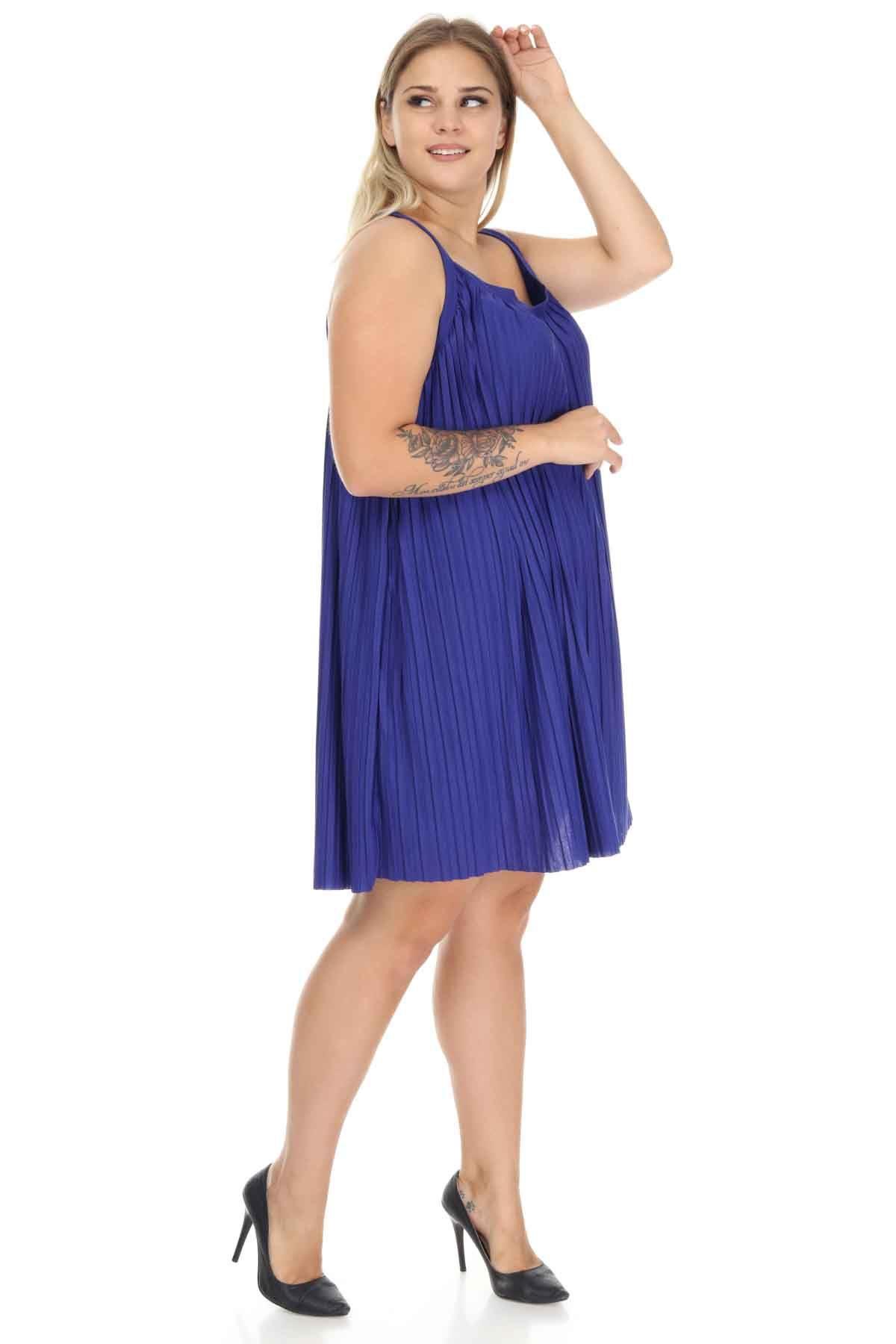 Saks Askılı Büyük Beden Elbise J12-123599